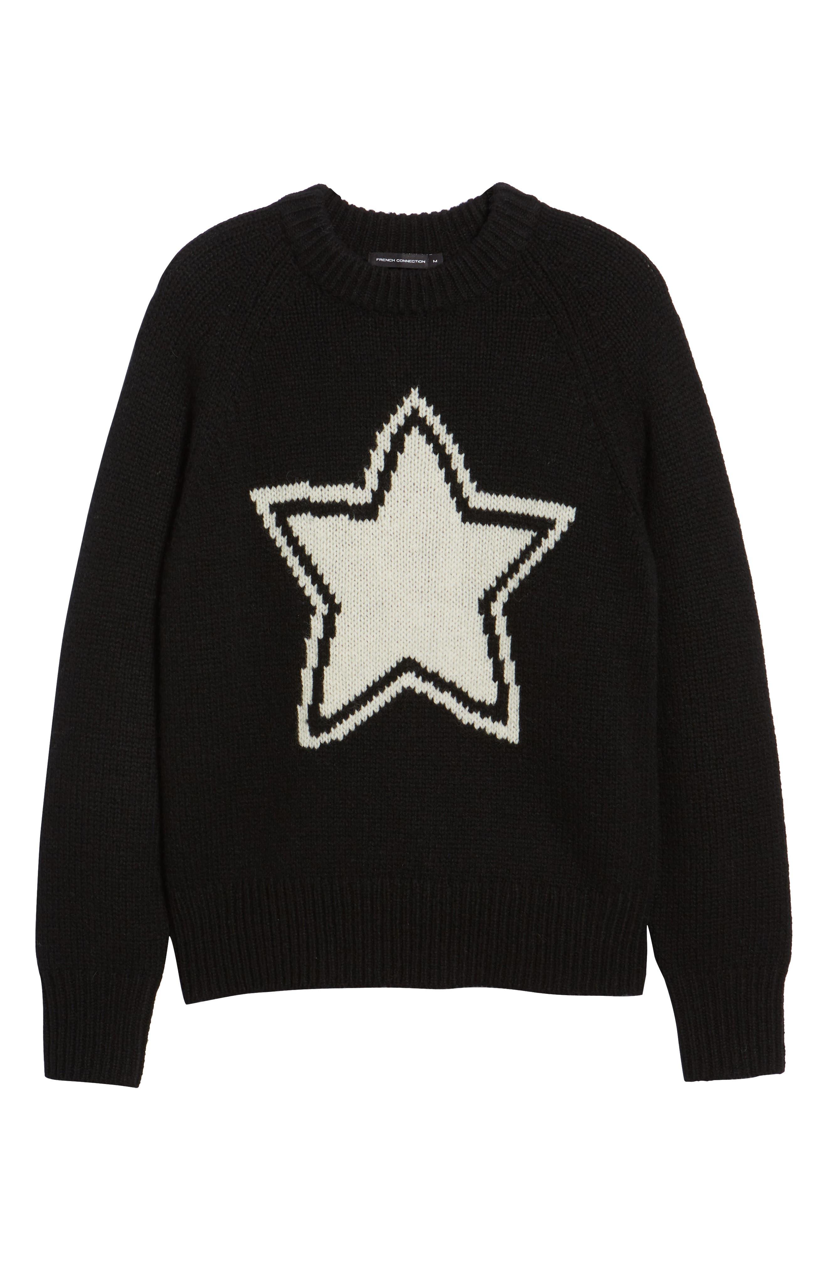 Star Wool Sweater,                             Alternate thumbnail 6, color,                             BLACK WHITECAP GREY