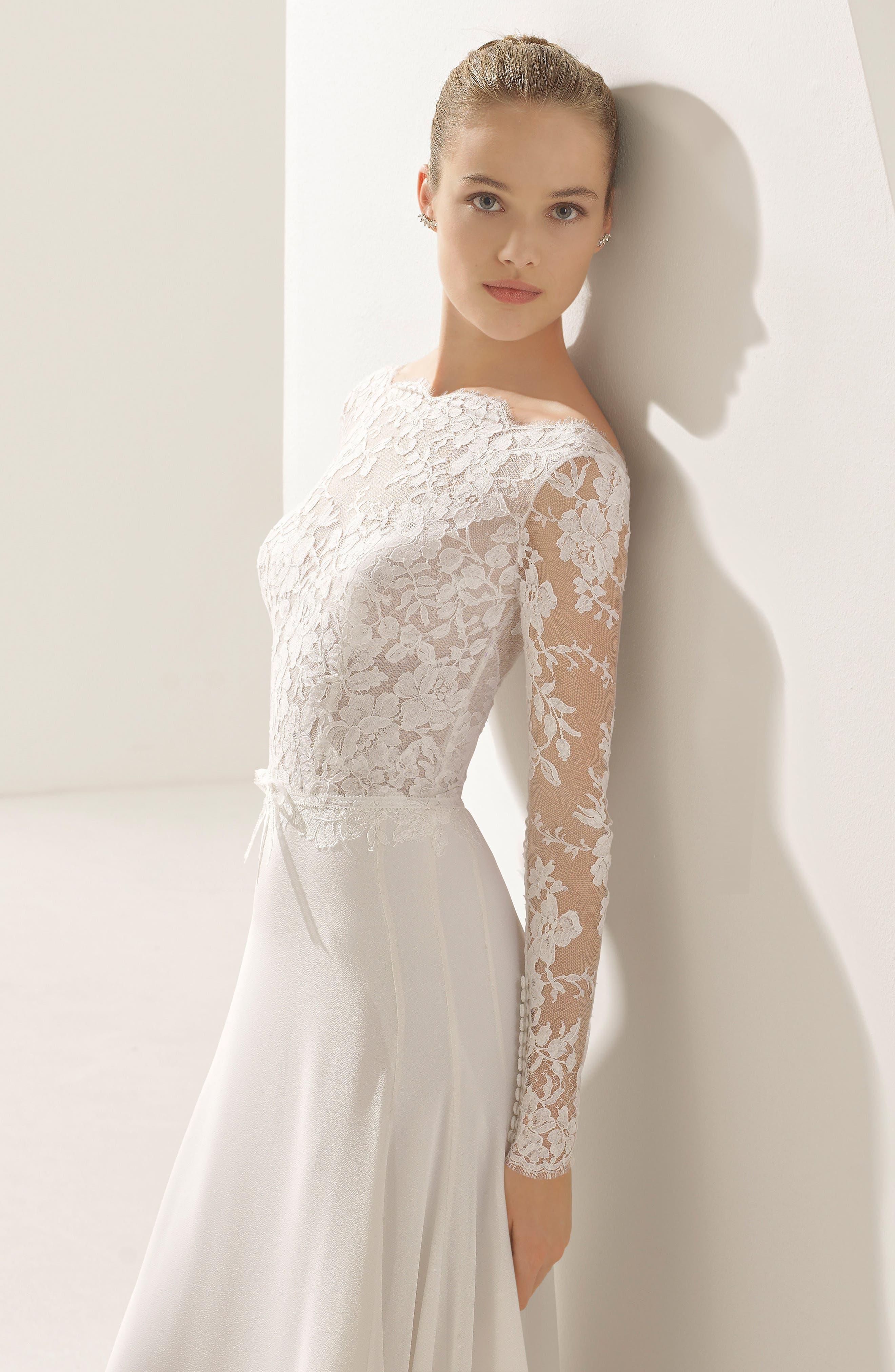 Rosa Clará Couture Pascal Lace & Crepe A-Line Gown,                             Alternate thumbnail 3, color,                             NATURAL