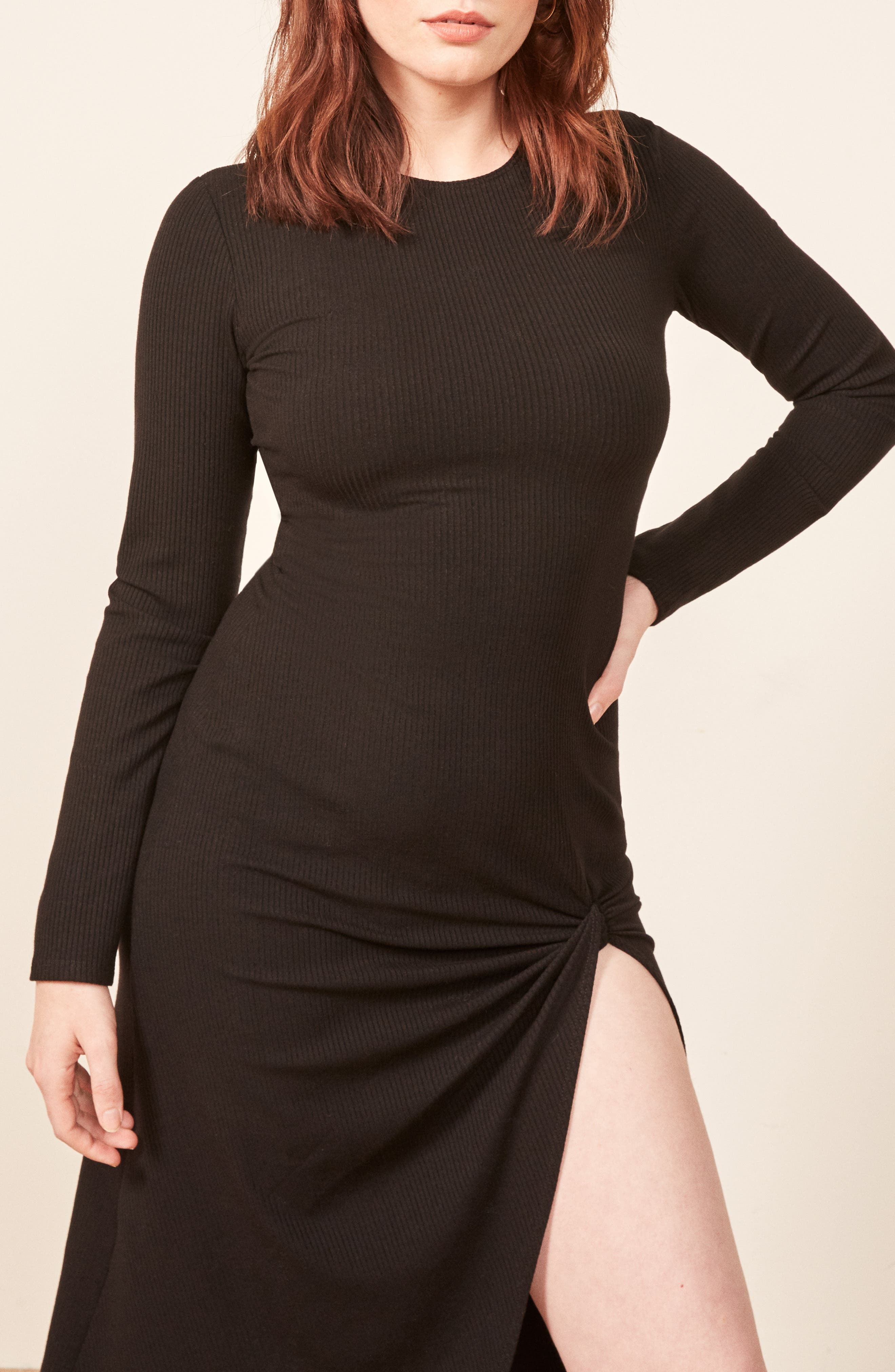 Piazza Ribbed Dress,                             Alternate thumbnail 4, color,                             BLACK