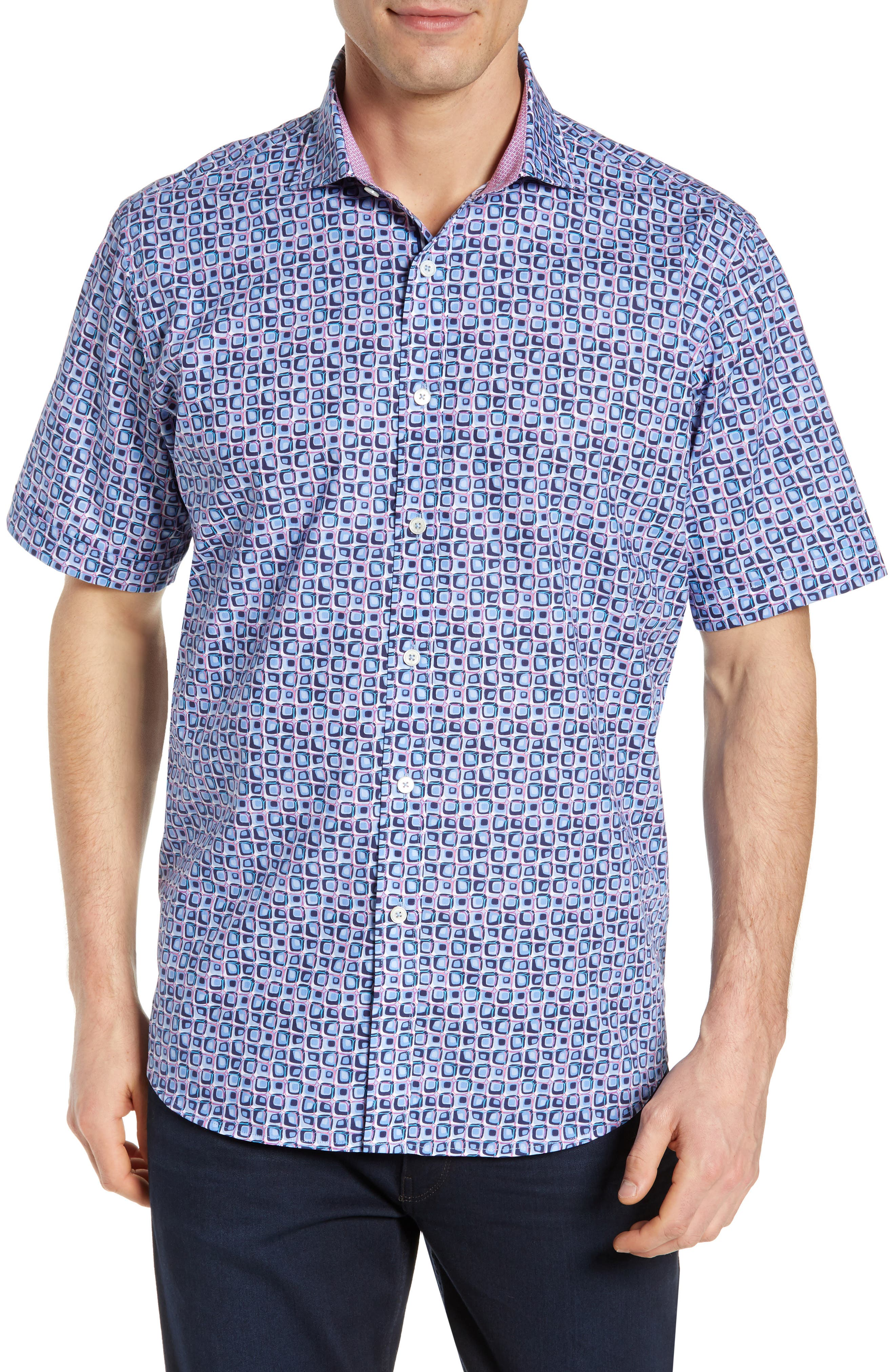 Classic Fit Print Sport Shirt,                             Main thumbnail 1, color,                             AIR BLUE