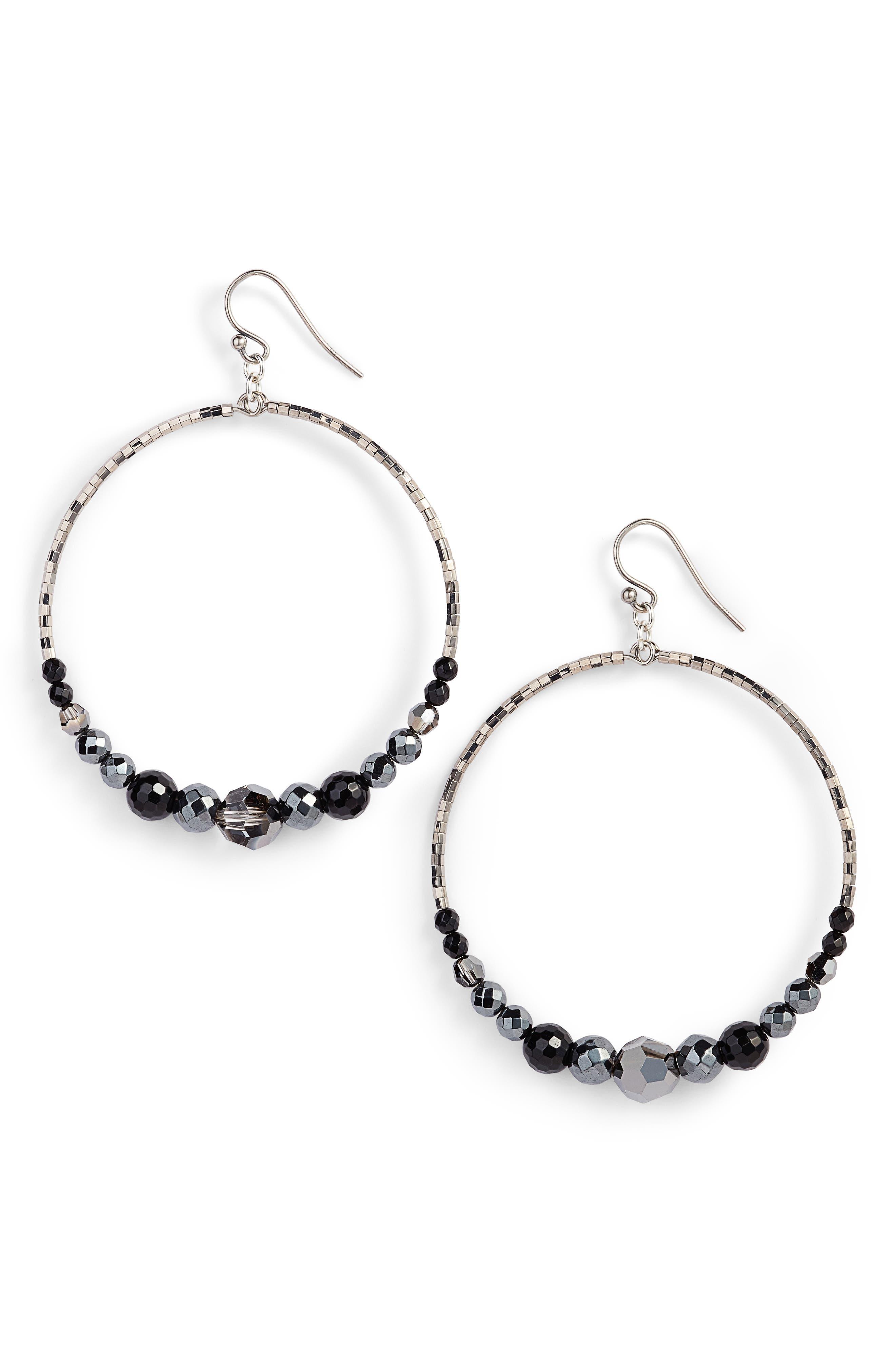 Semiprecious Stone Frontal Hoop Earrings,                         Main,                         color, 040