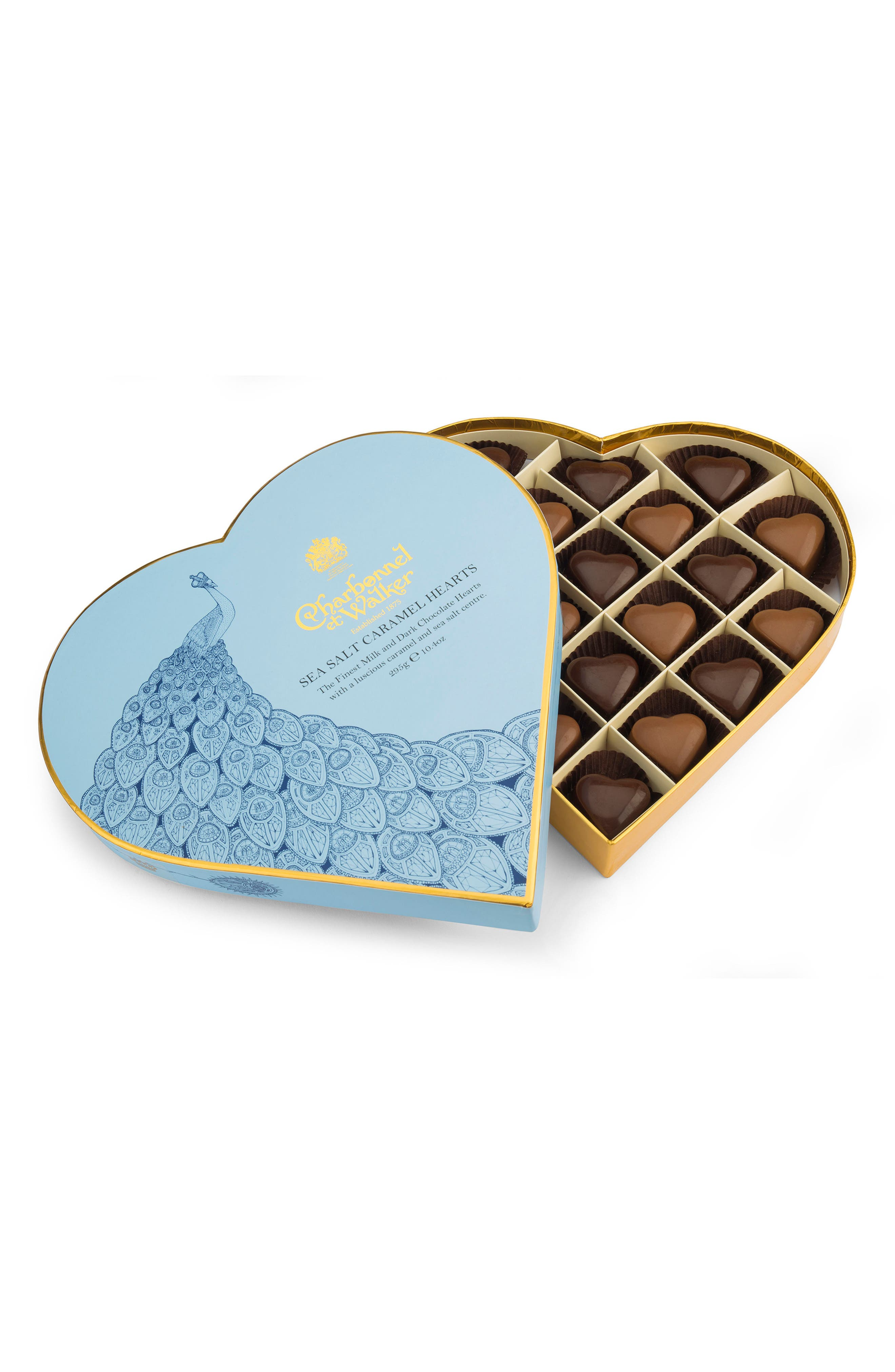 Sea Salt Caramel Chocolates in Heart Shaped Gift Box,                             Main thumbnail 1, color,                             400