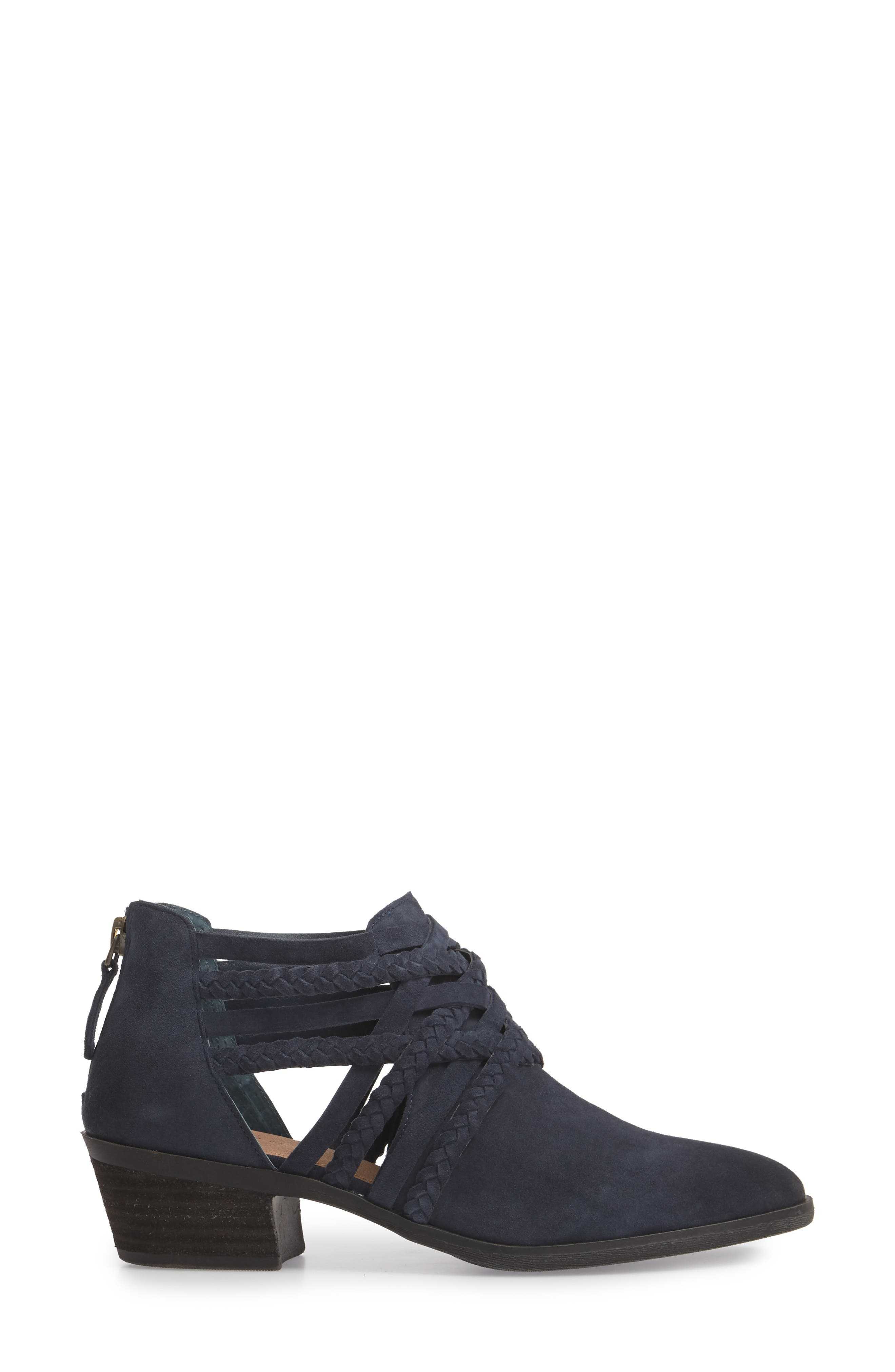 Liam Braided Bootie,                             Alternate thumbnail 3, color,                             NAVY SUEDE