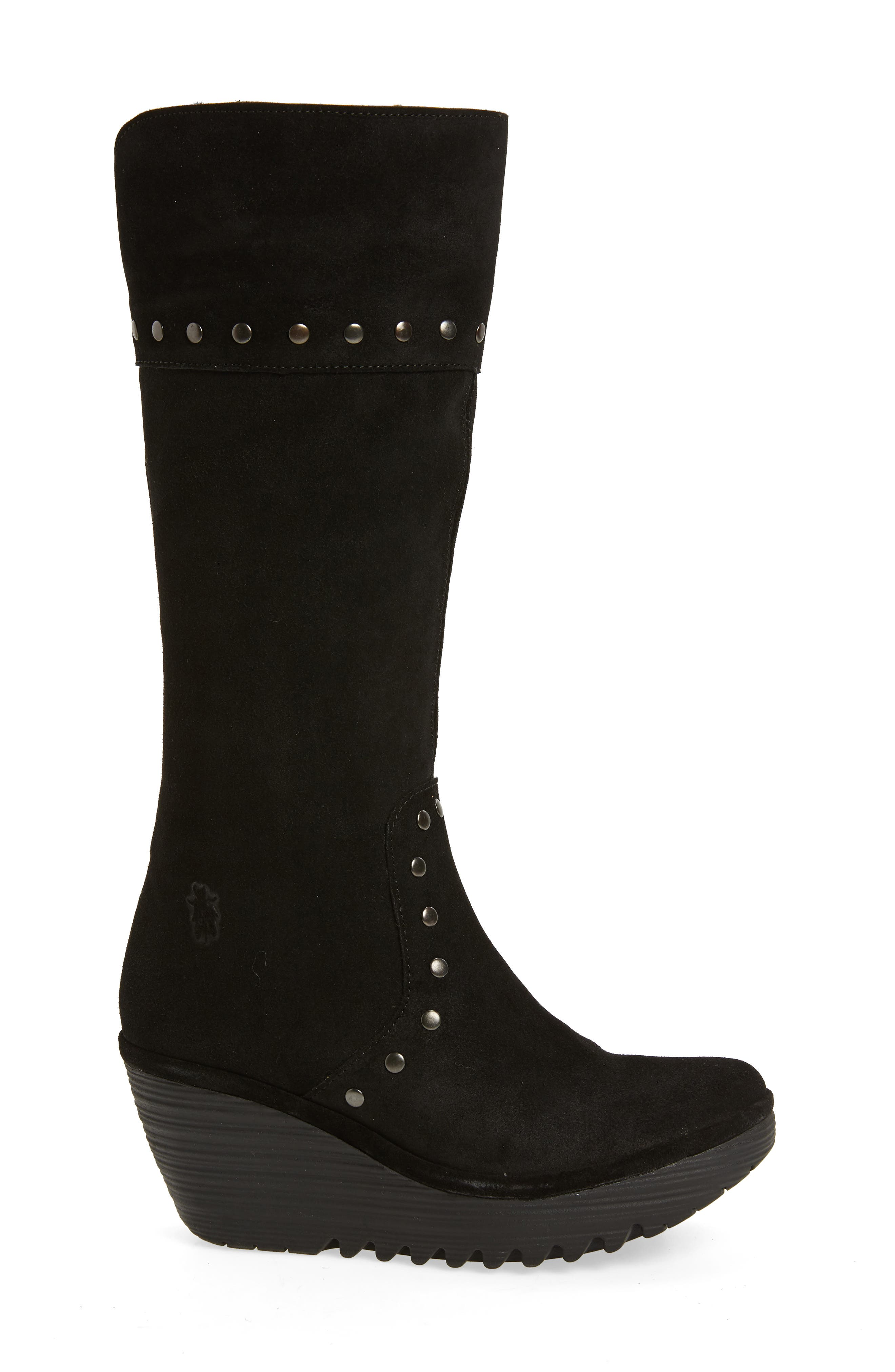 Yota Knee High Boot,                             Alternate thumbnail 3, color,                             BLACK OIL SUEDE