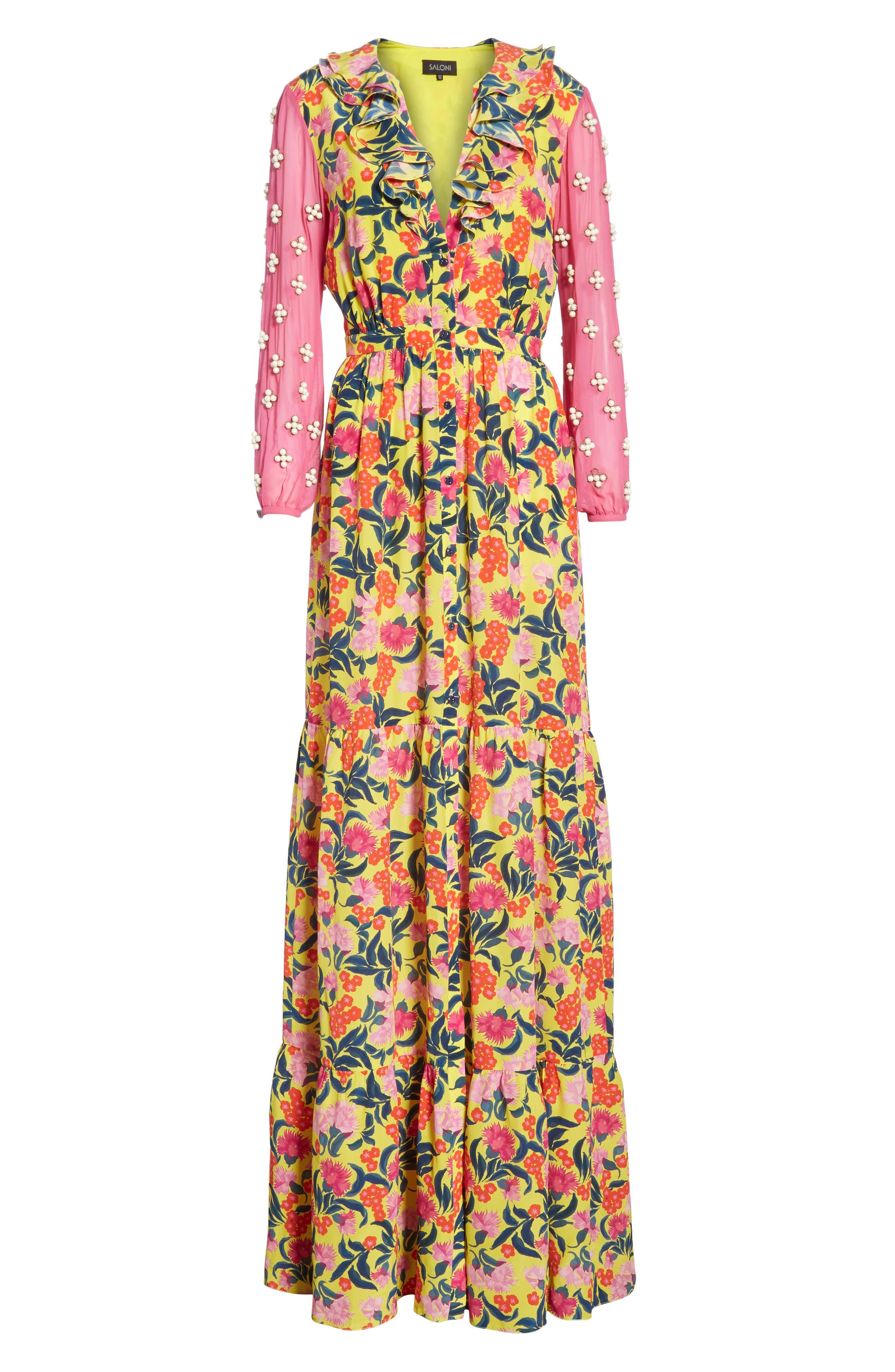 SALONI,                             Ginny Floral Print Embellished Sleeve Silk Dress,                             Alternate thumbnail 6, color,                             720