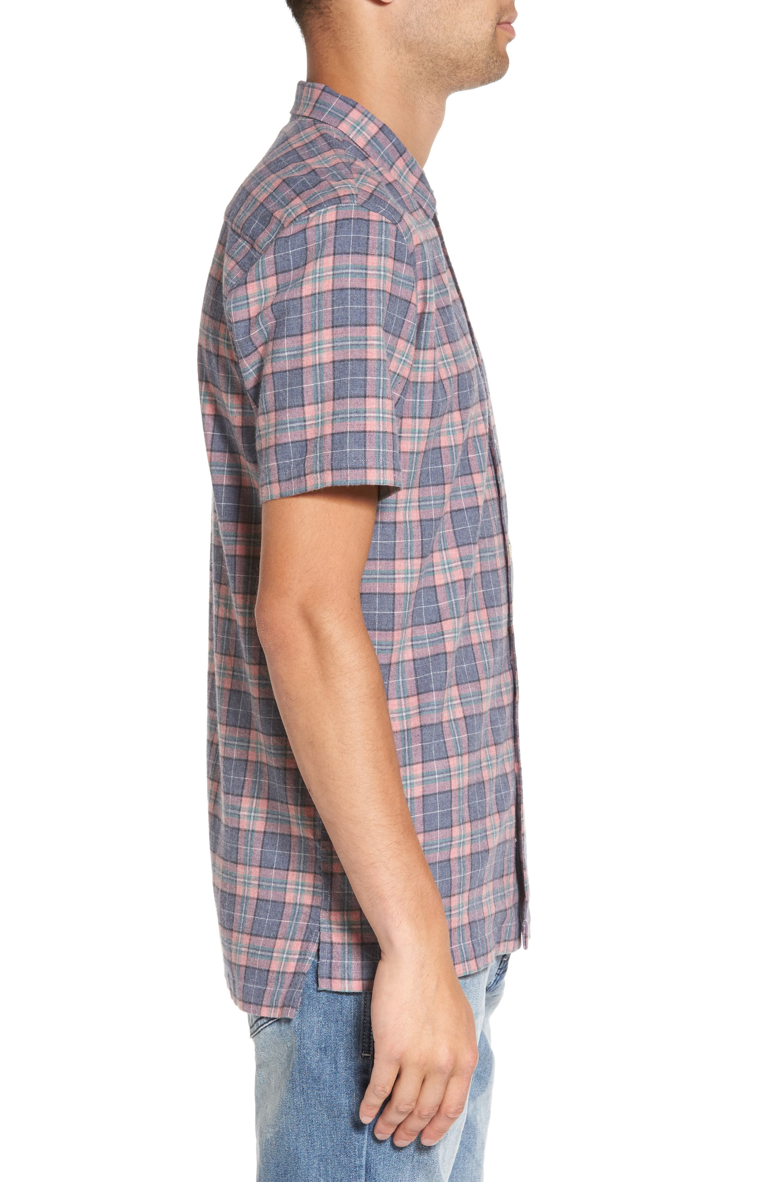 Florida Short Sleeve Plaid Shirt,                             Alternate thumbnail 3, color,                             450
