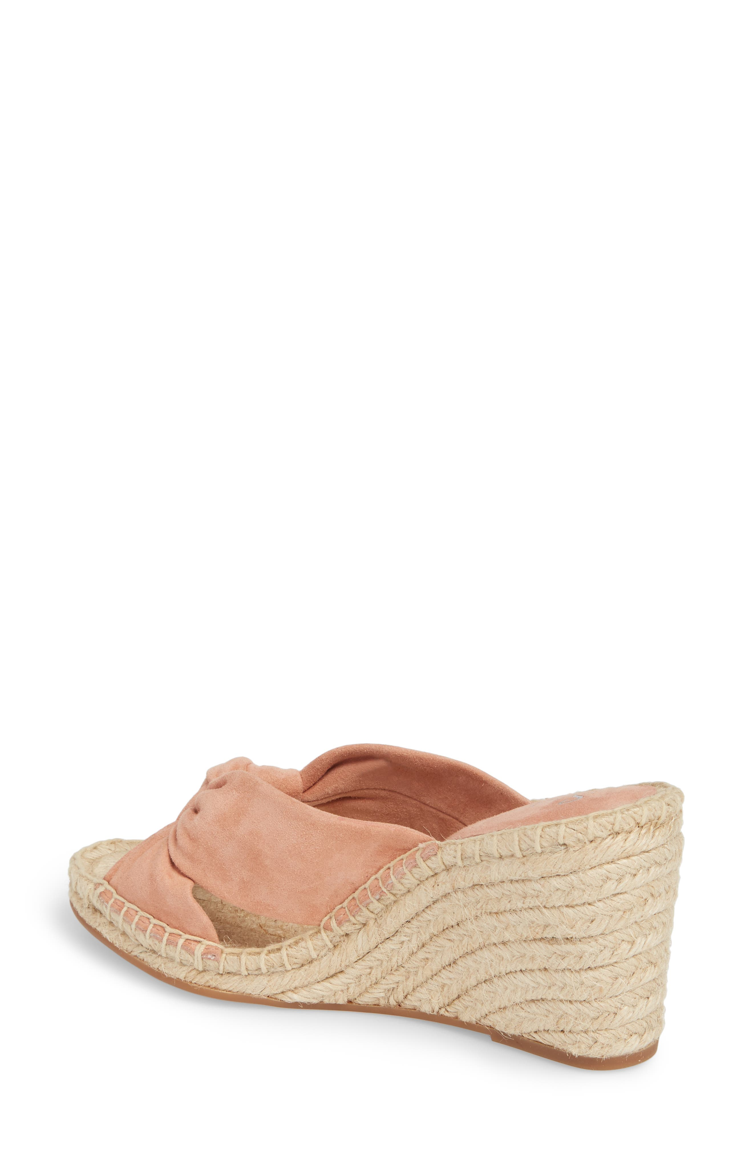 Bautista Knotted Wedge Sandal,                             Alternate thumbnail 2, color,                             DARK BLUSH SUEDE