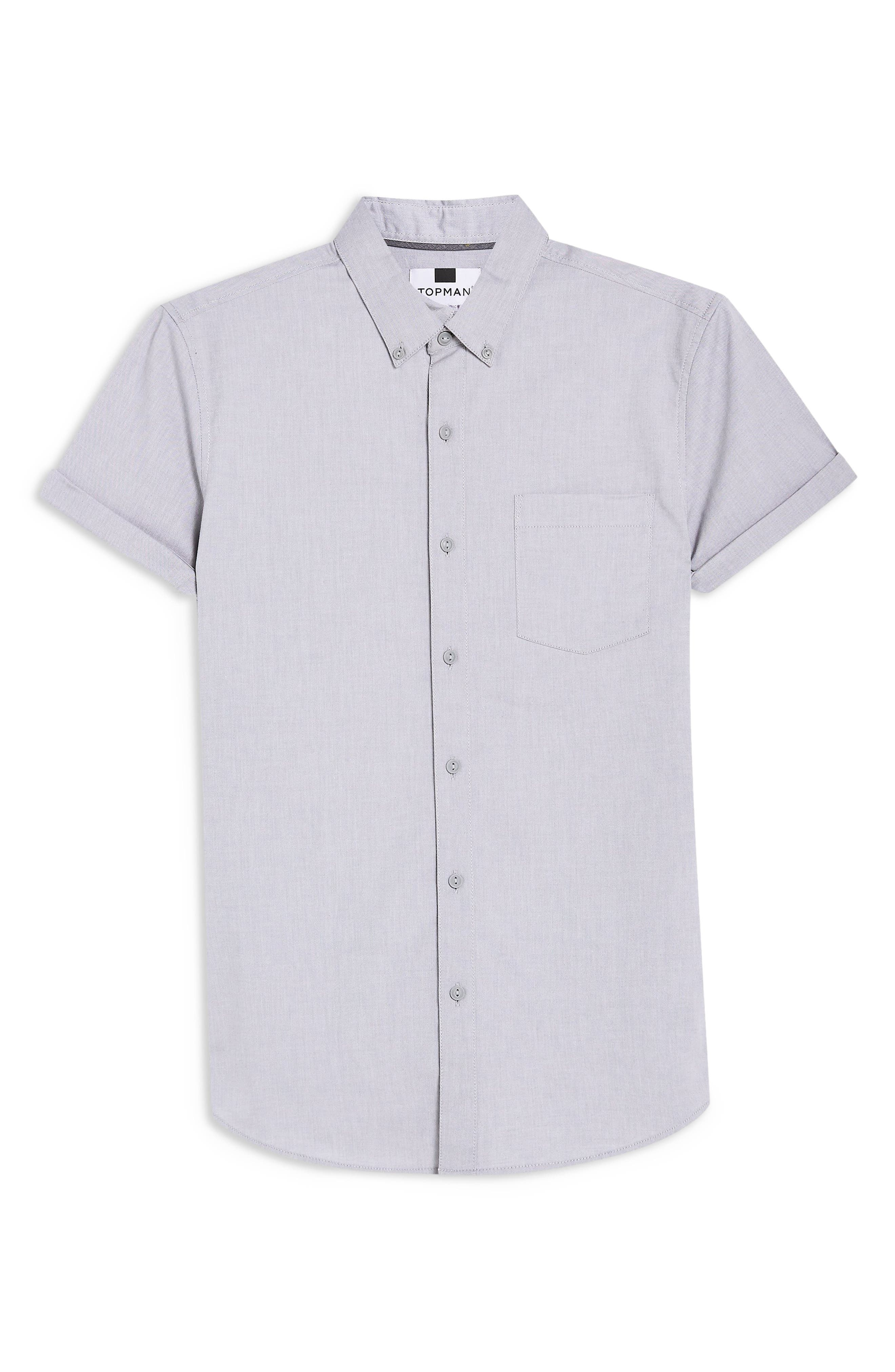 TOPMAN,                             Muscle Fit Oxford Shirt,                             Alternate thumbnail 4, color,                             GREY