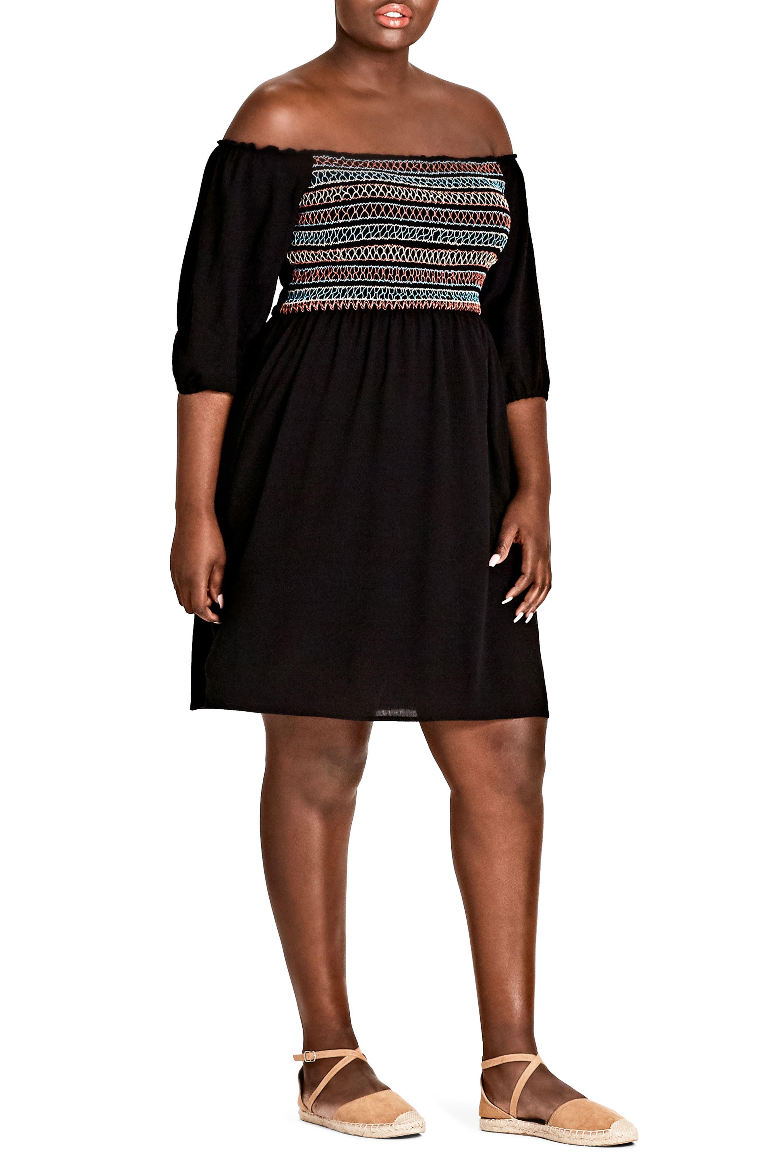 Makana Off the Shoulder Dress,                         Main,                         color, BLACK