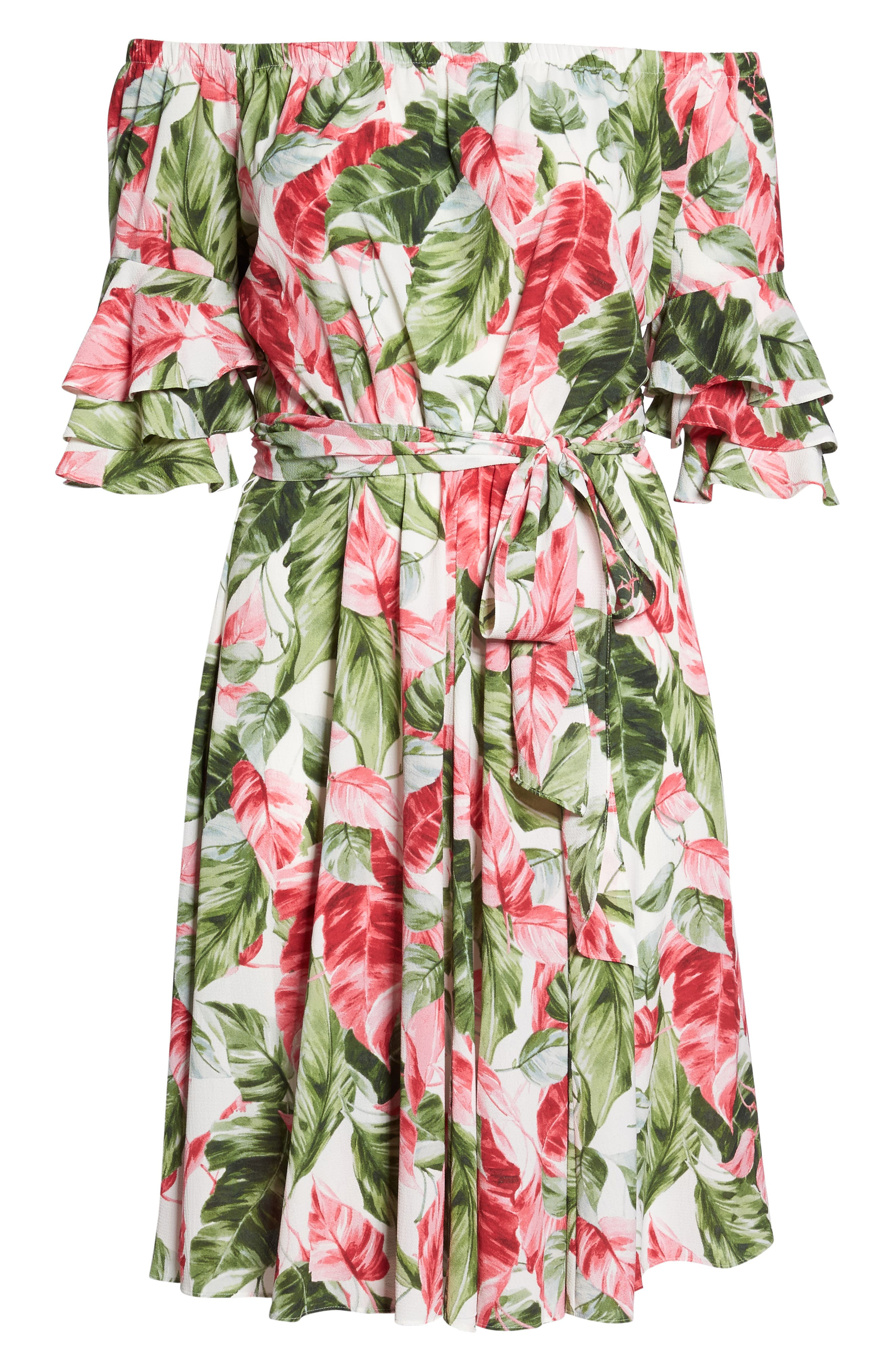 Off the Shoulder Floral Midi Dress,                             Alternate thumbnail 6, color,                             650