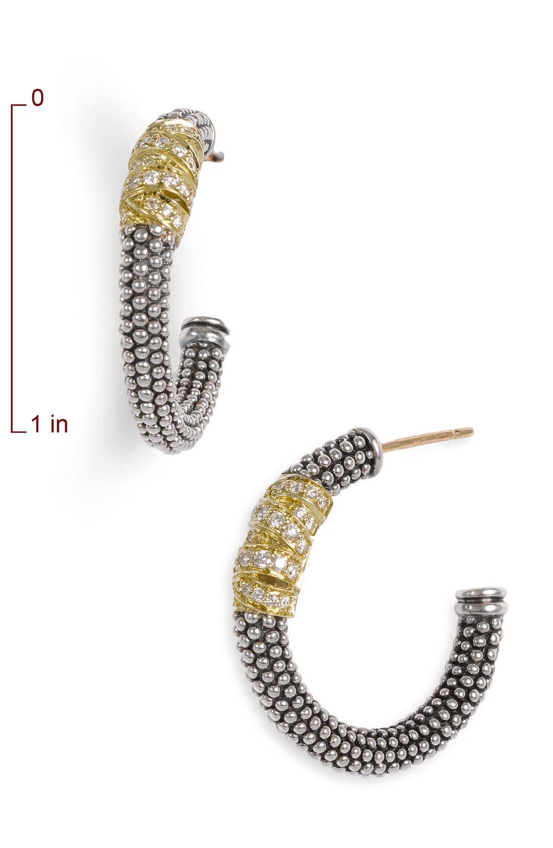 'Embrace' Caviar Diamond Hoop Earrings,                             Alternate thumbnail 3, color,                             STERLING SILVER/ GOLD