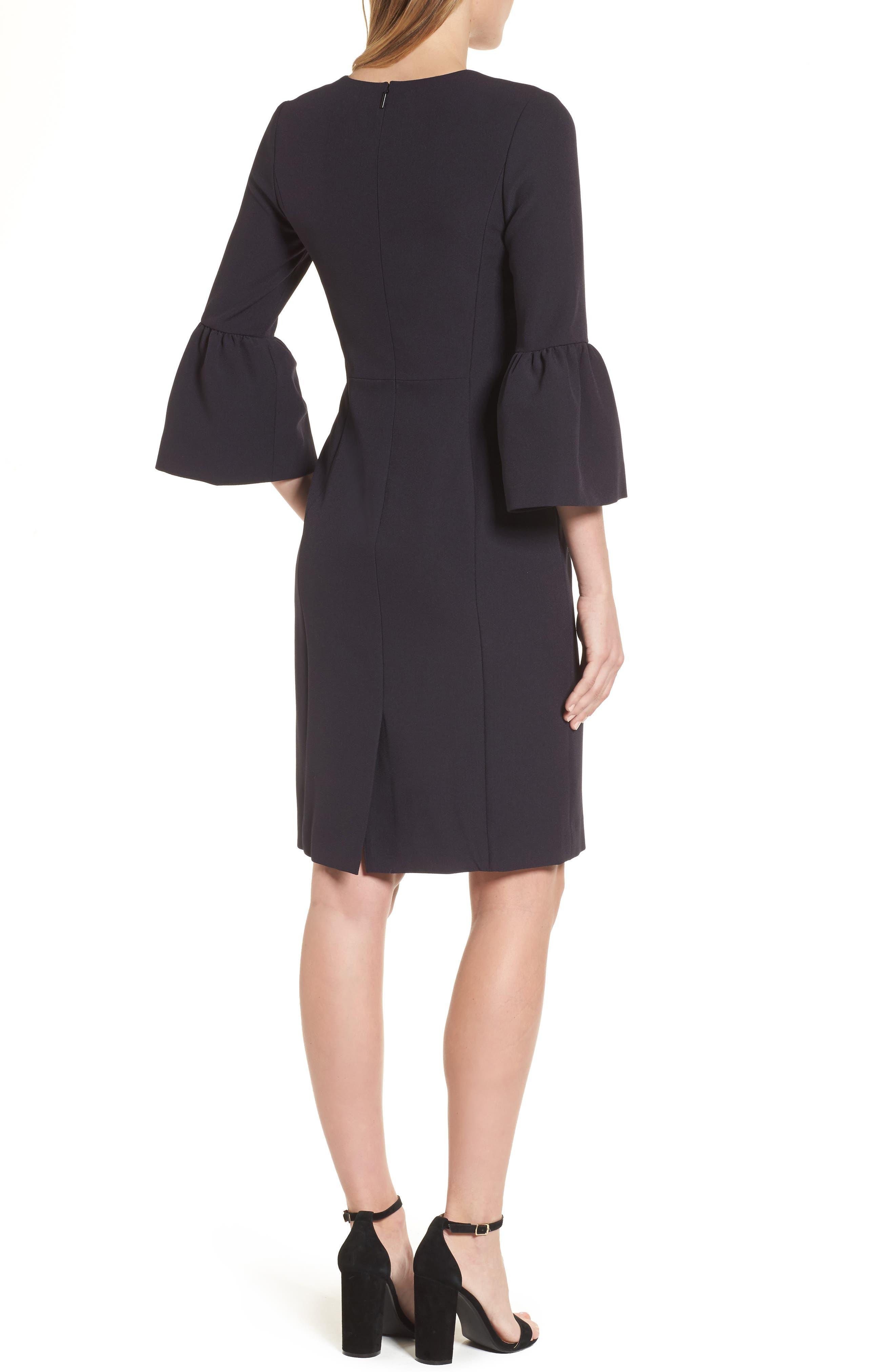 Bell Sleeve Sheath Dress,                             Alternate thumbnail 2, color,                             001