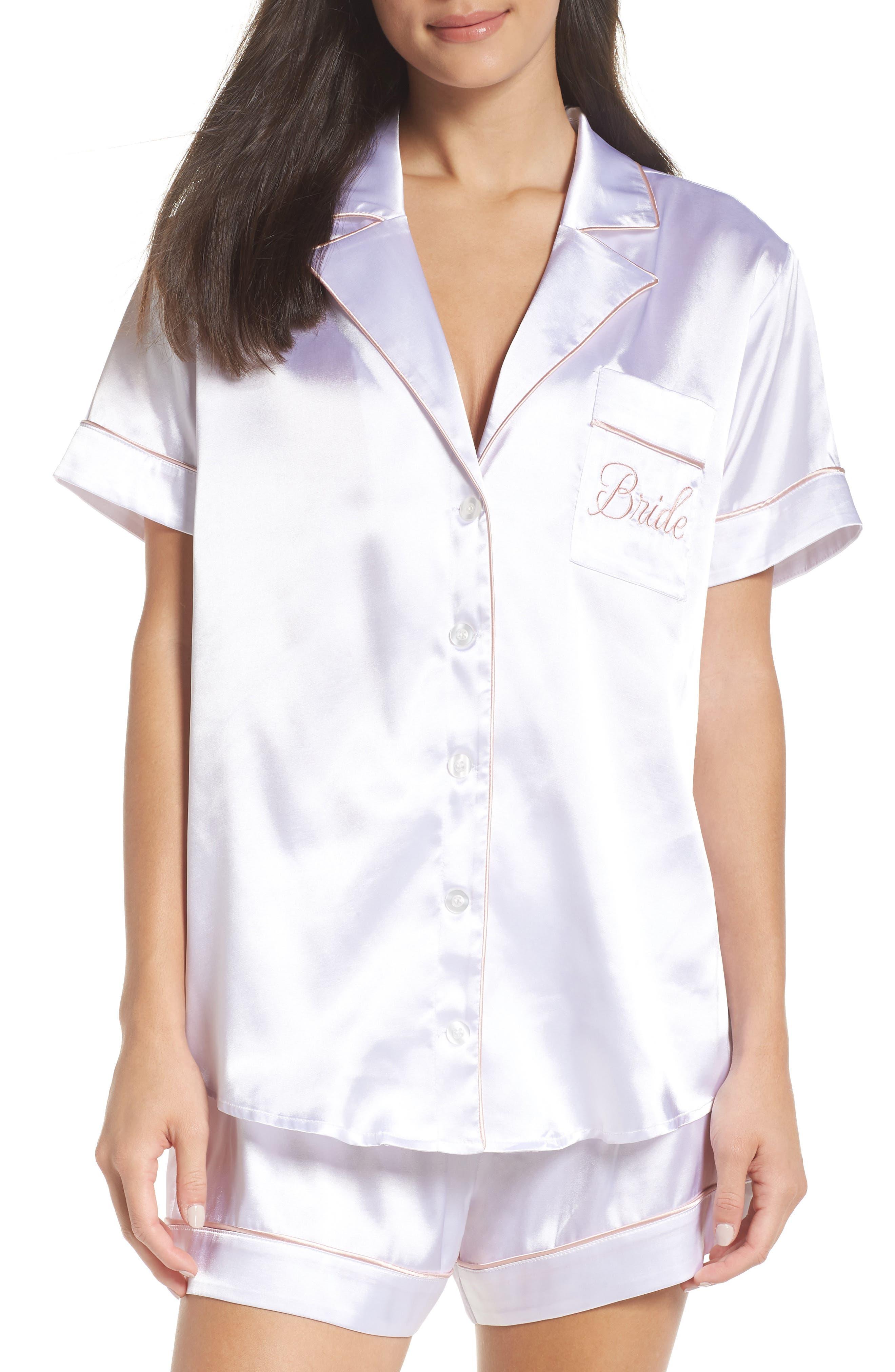 Bride Short Satin Pajamas, Main, color, 100