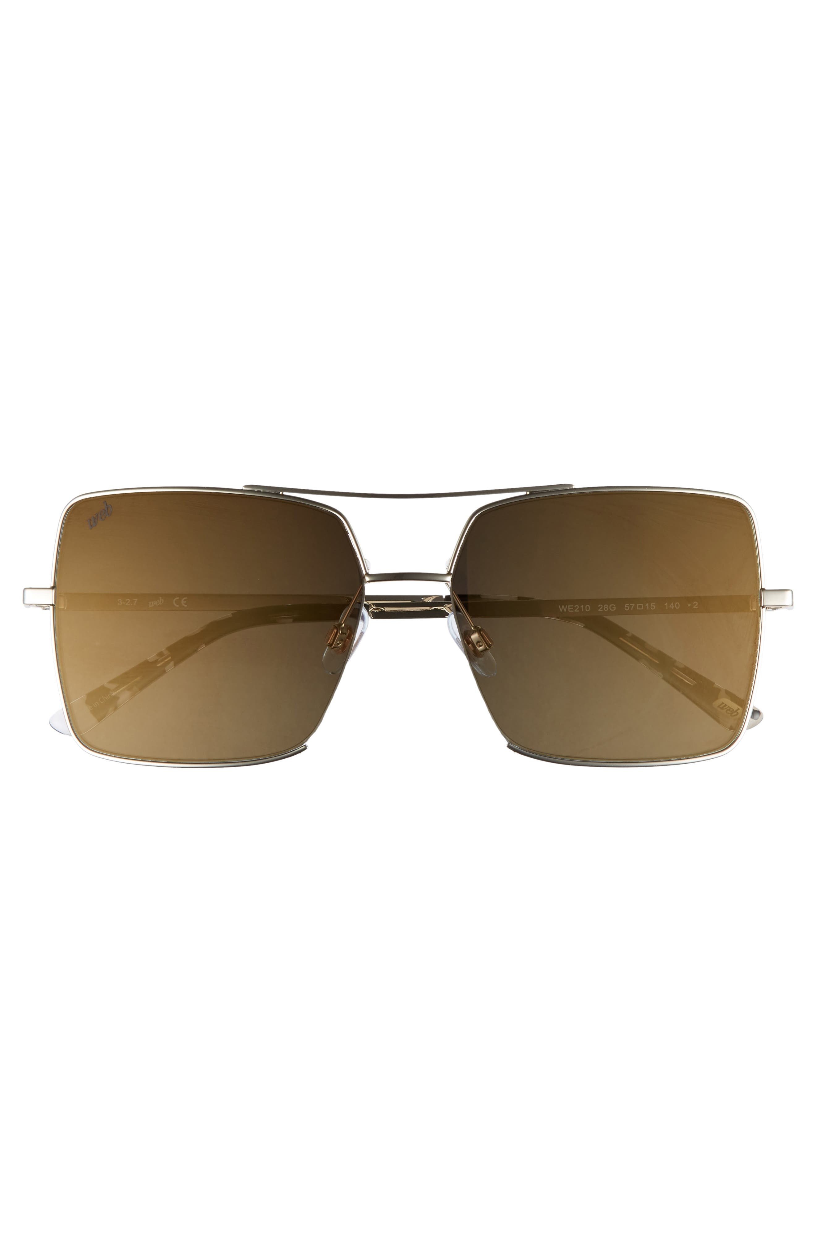 57mm Square Metal Aviator Sunglasses,                             Alternate thumbnail 3, color,                             GOLD/ BROWN