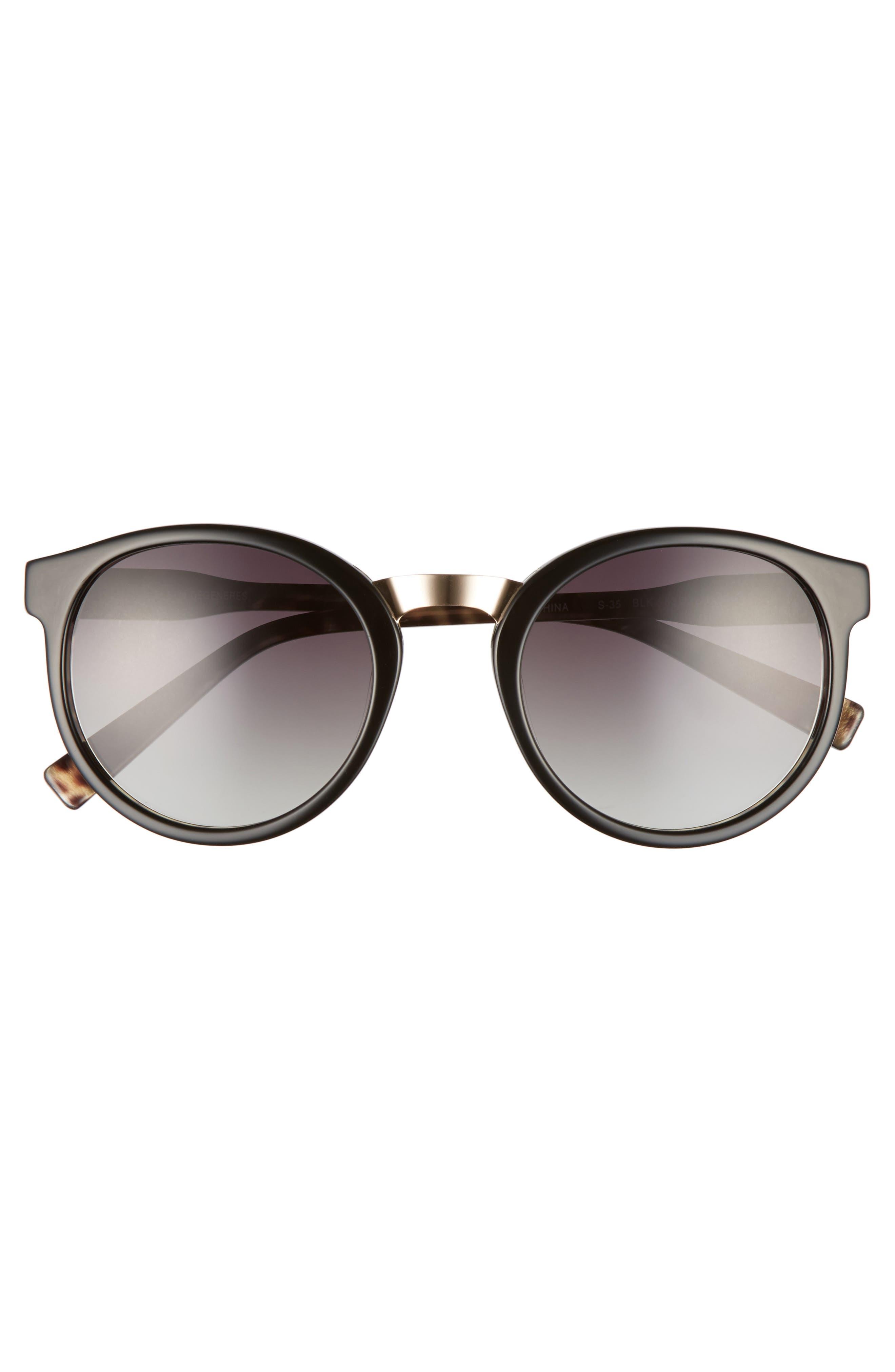 53mm Round Sunglasses,                             Alternate thumbnail 3, color,                             001