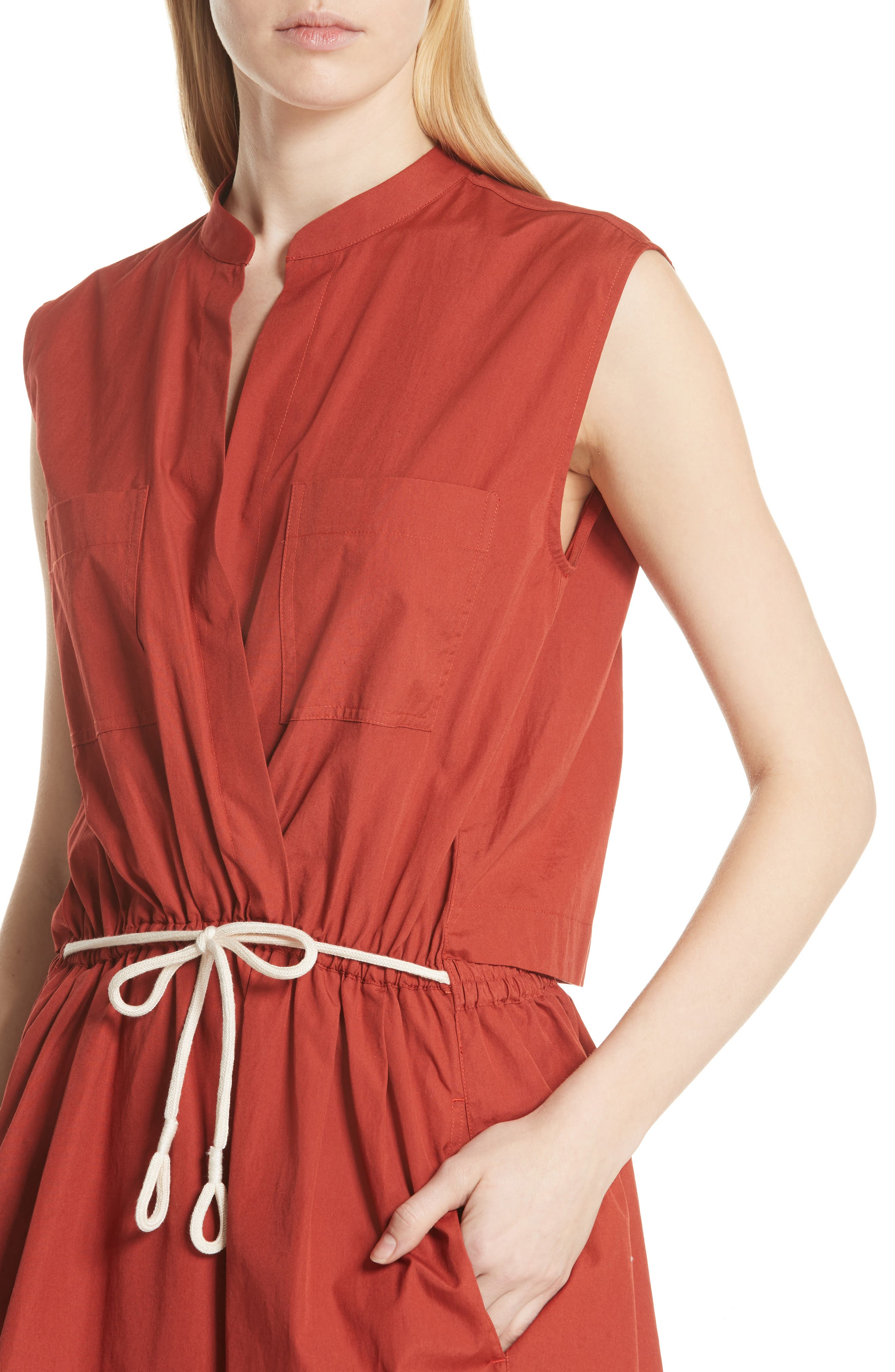 Back Cutout Cotton Utility Dress,                             Alternate thumbnail 8, color,