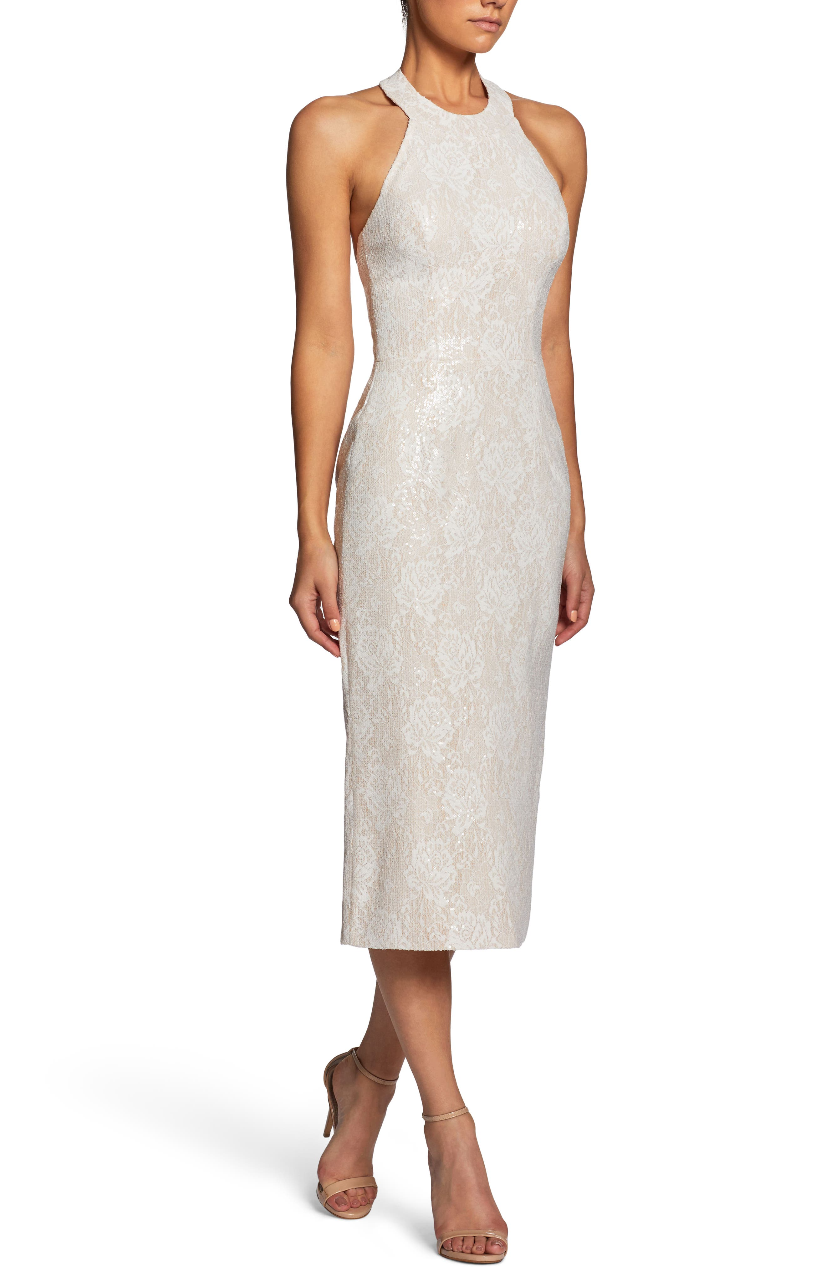 Cassie Halter Sequin Dress,                             Alternate thumbnail 3, color,                             154