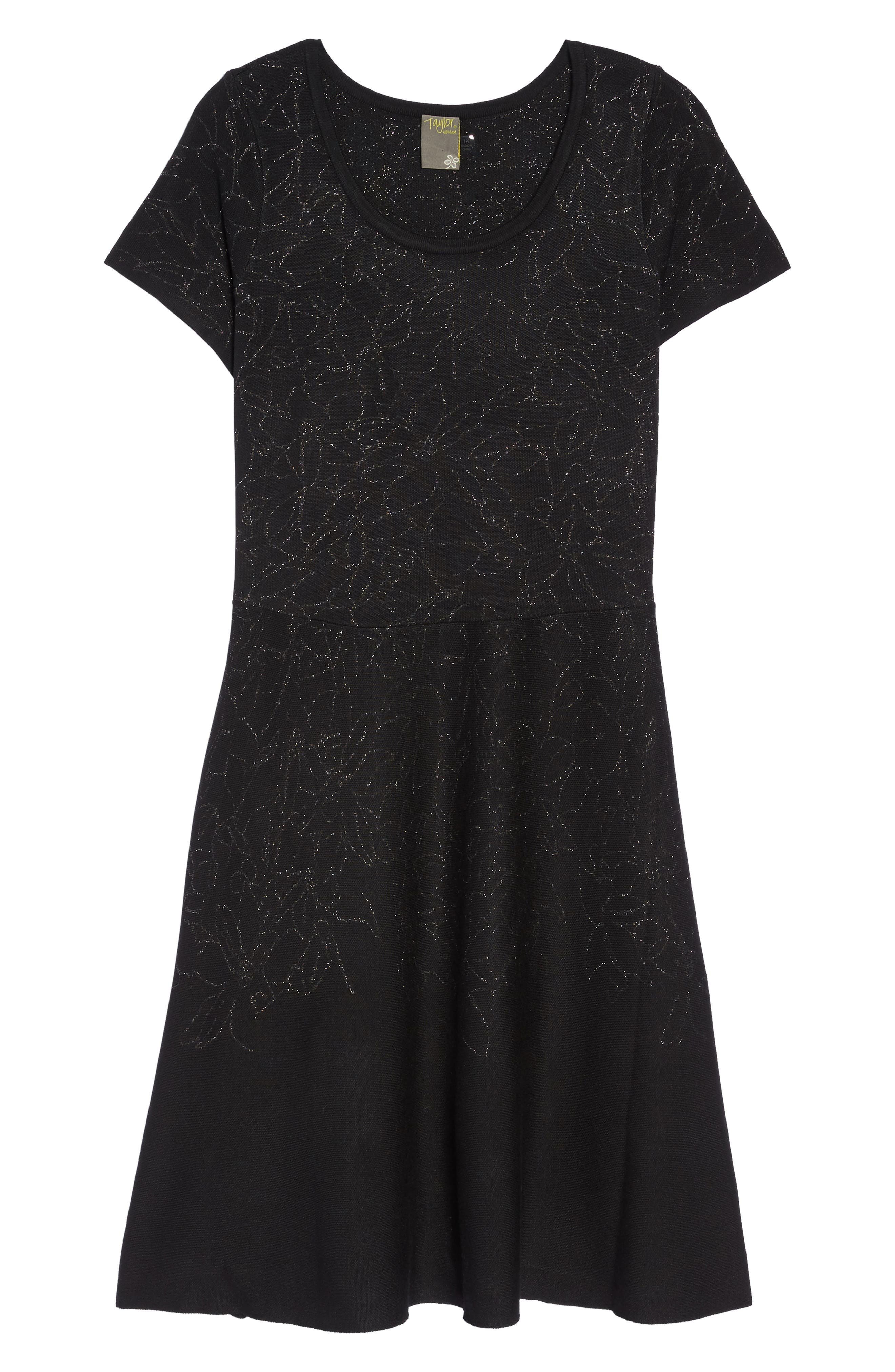 Metallic Knit Fit & Flare Dress,                             Alternate thumbnail 6, color,                             001