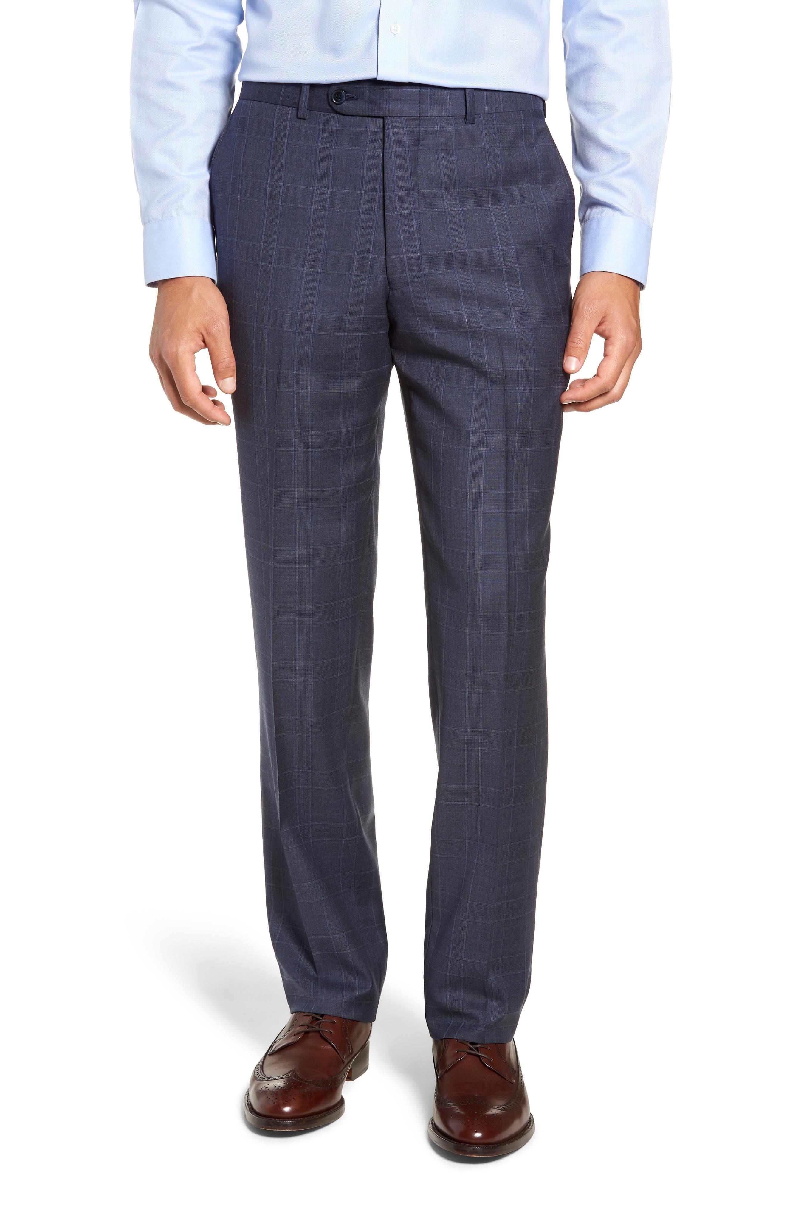 Flynn Classic Fit Plaid Wool Suit,                             Alternate thumbnail 6, color,                             BLUE