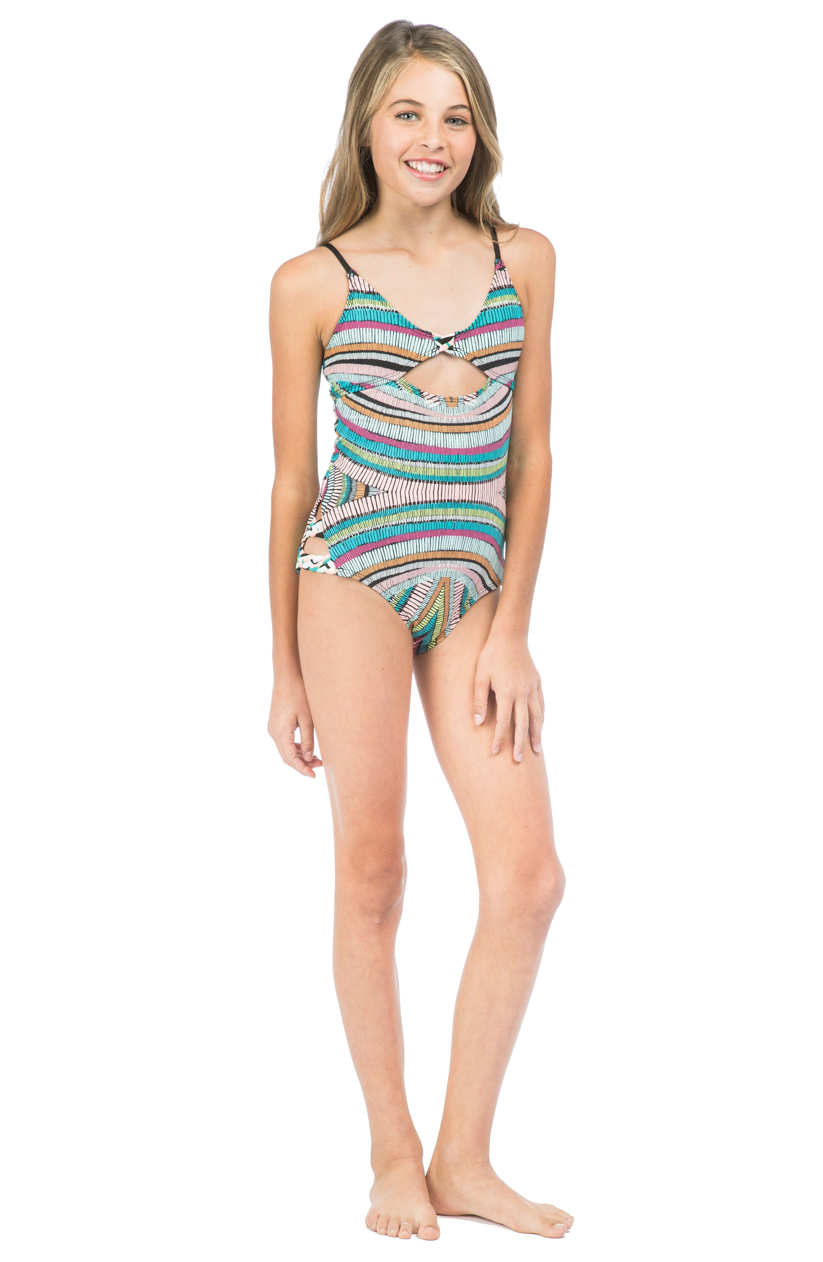 Weave Rider One-Piece Swimsuit,                             Alternate thumbnail 2, color,                             300