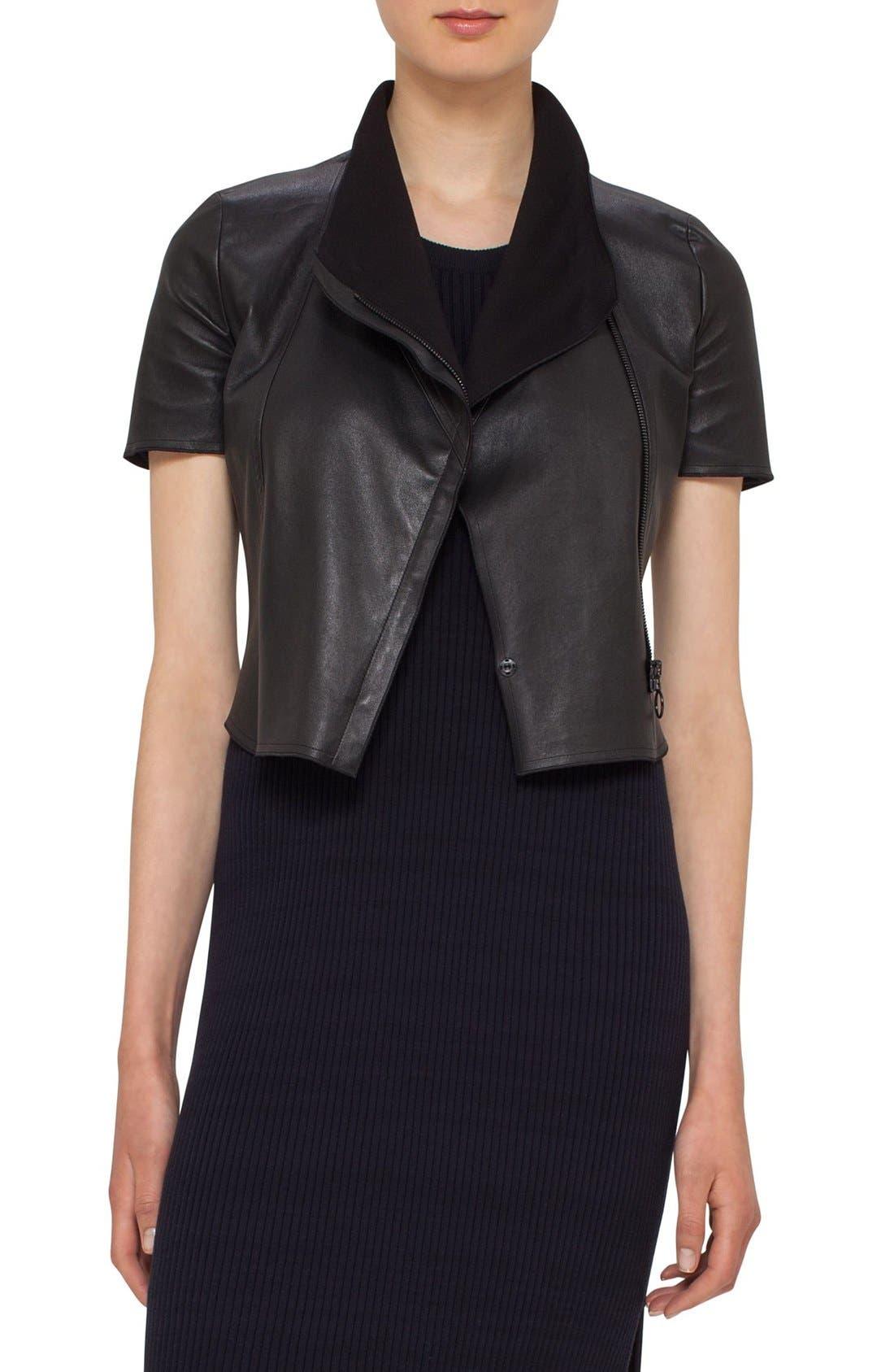 Leather Mini Biker Jacket,                             Main thumbnail 1, color,                             BLACK