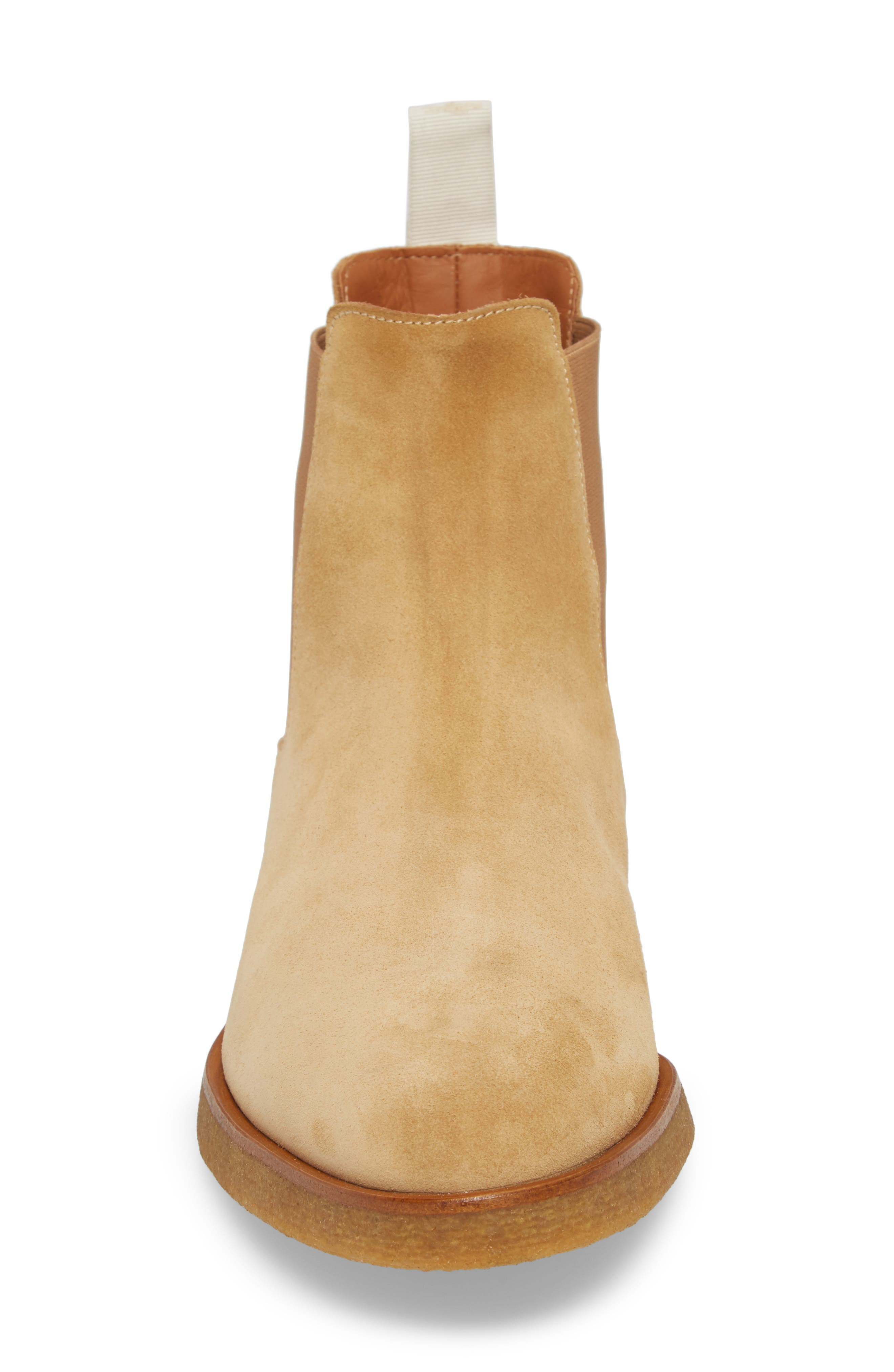 Chelsea Boot,                             Alternate thumbnail 4, color,                             AMBER SUEDE