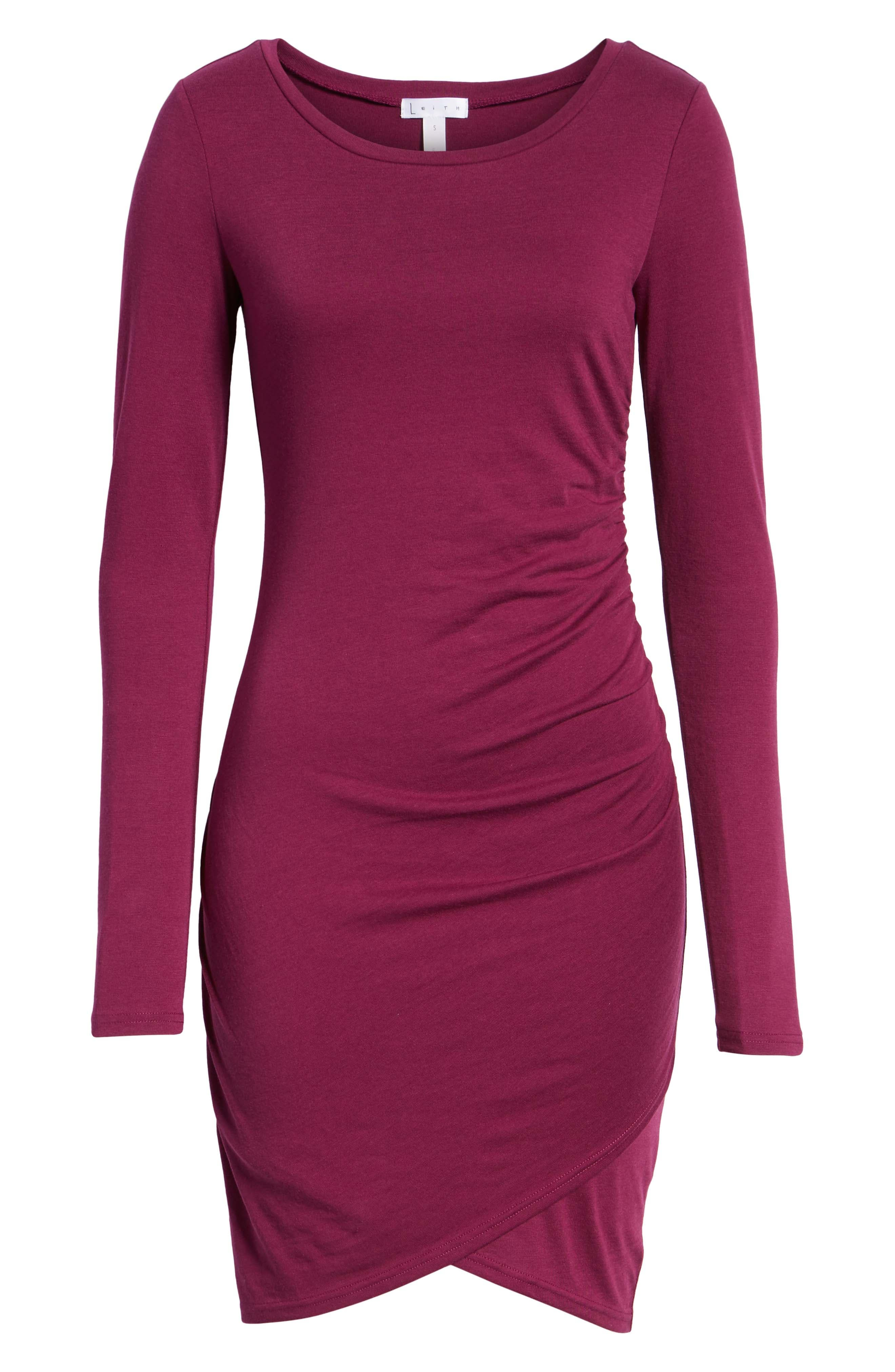 Ruched Long Sleeve Dress,                             Alternate thumbnail 7, color,                             PURPLE MAGENTA