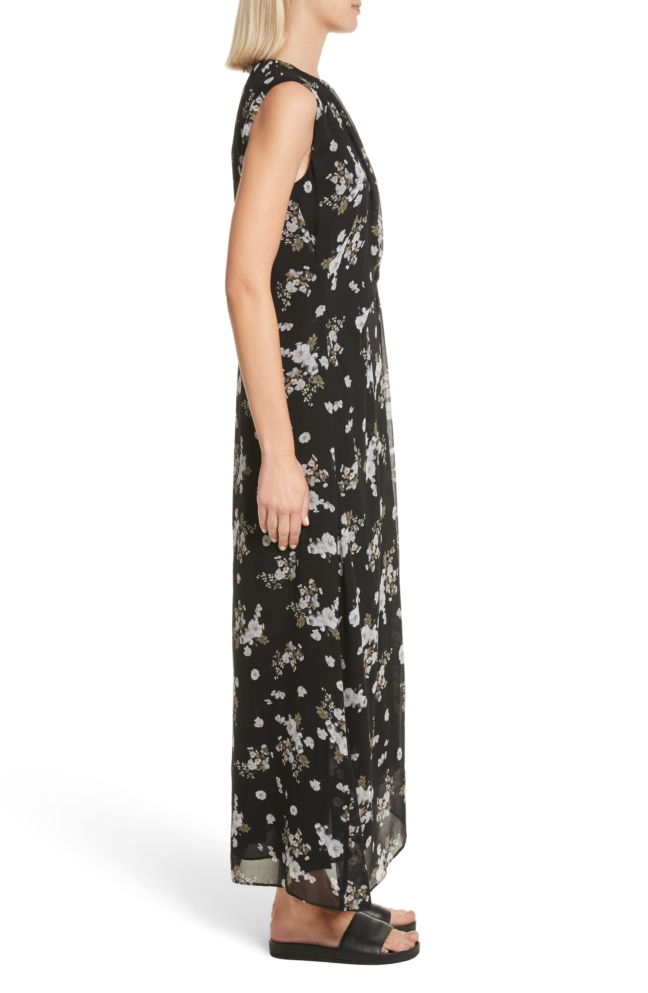 Tossed Floral Side Drape Silk Maxi Dress,                             Alternate thumbnail 3, color,                             001