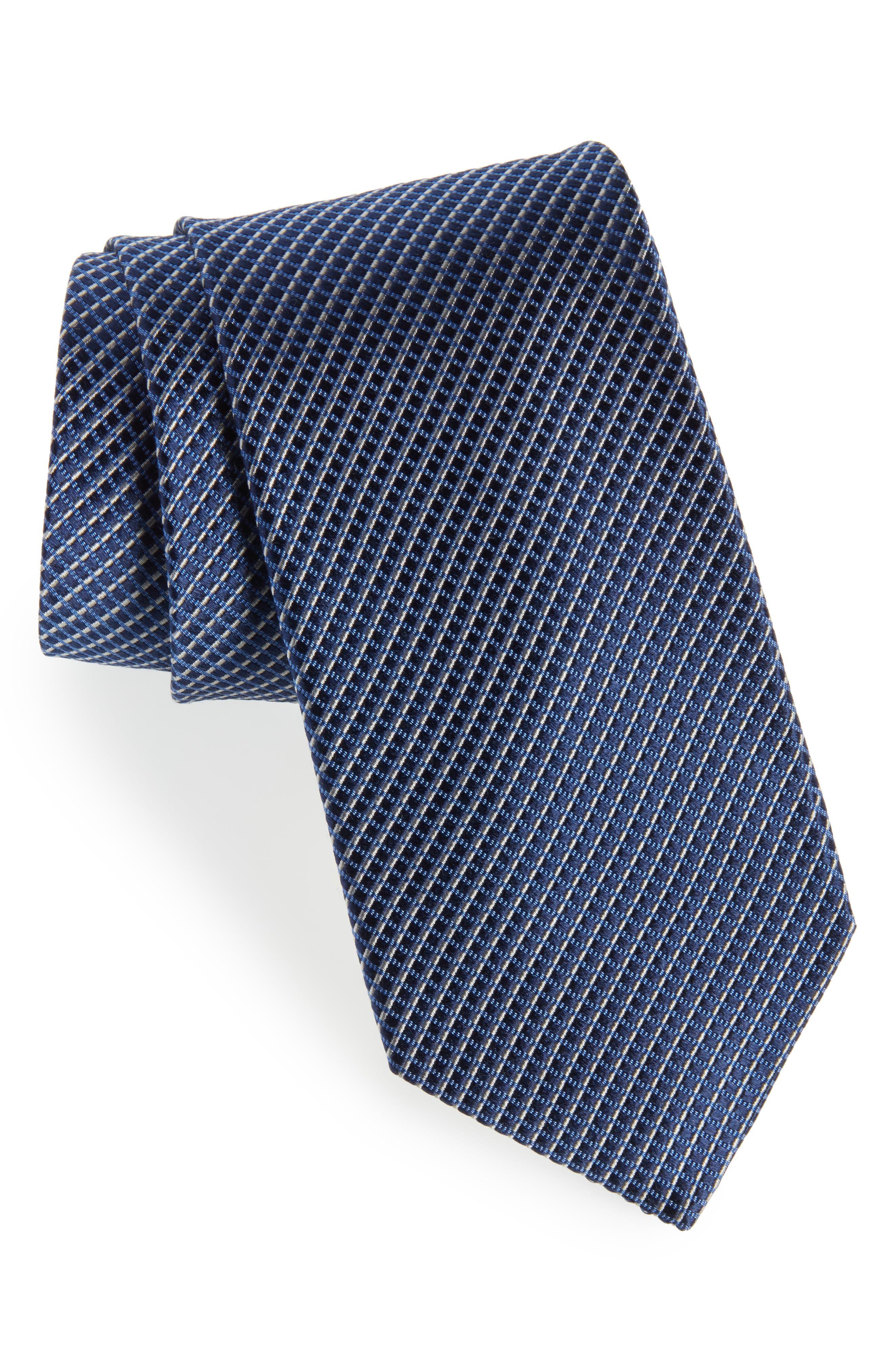 Bucaro Micro Pattern Silk Tie,                         Main,                         color, NAVY