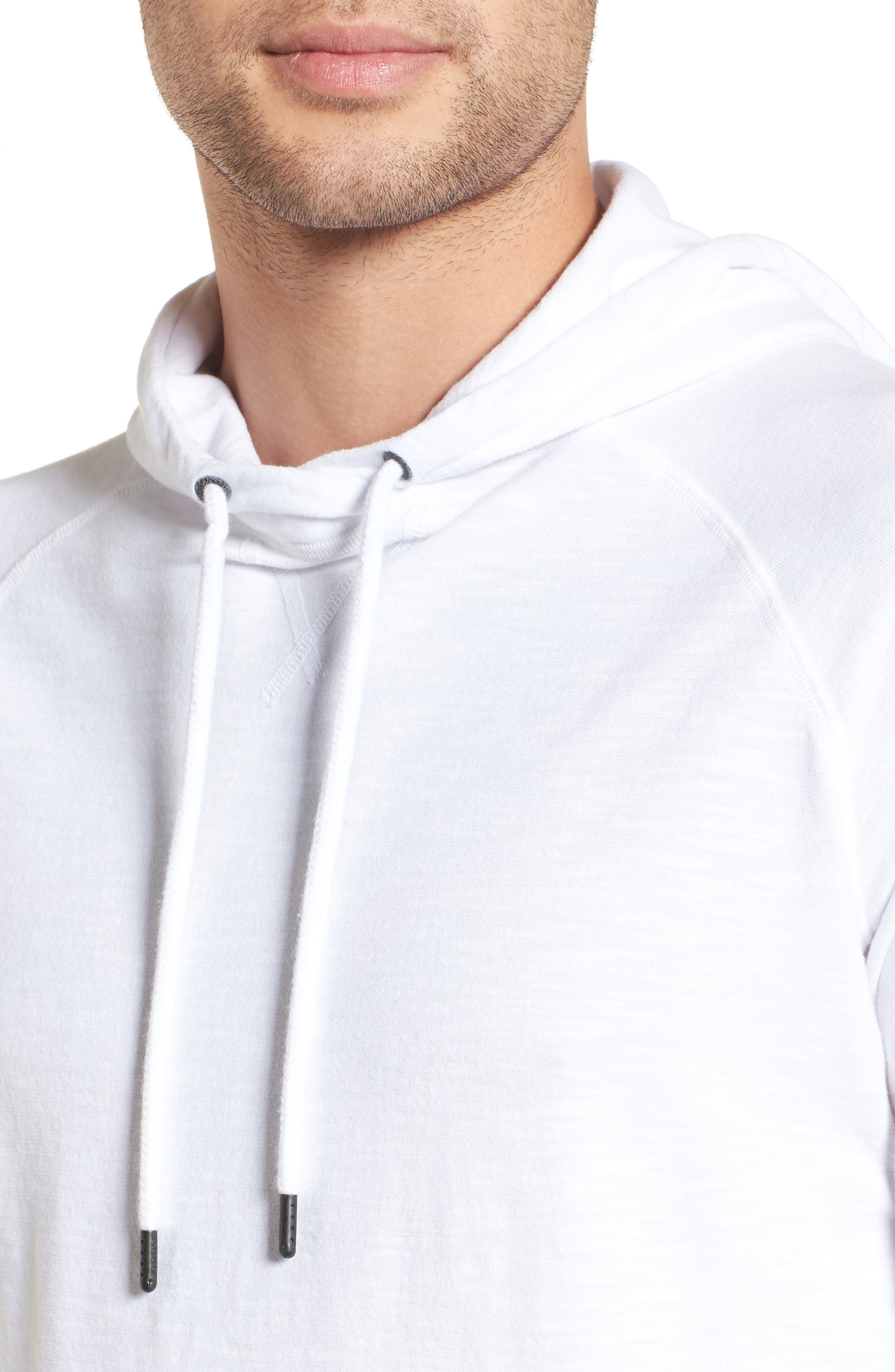 Trim Fit Pullover Hoodie,                             Alternate thumbnail 4, color,                             100