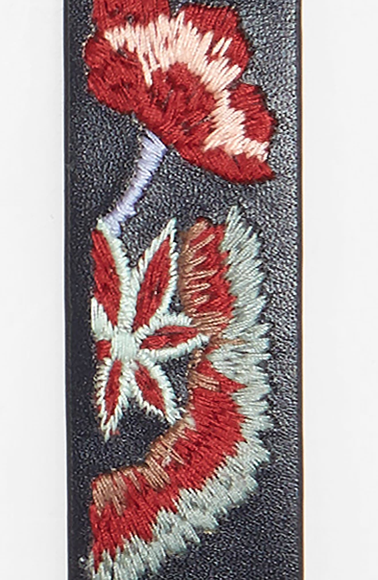 Aria Floral Embroidered Leather Belt,                             Alternate thumbnail 3, color,                             001