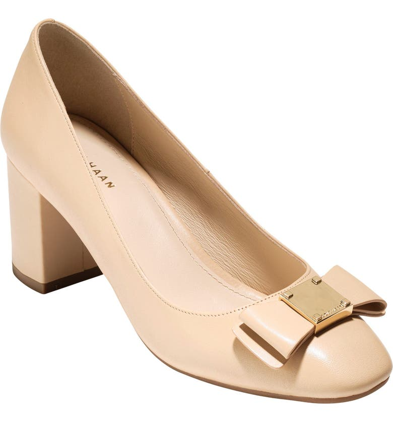 COLE HAAN Tali Bow Pump, Main, color, NUDE LEATHER