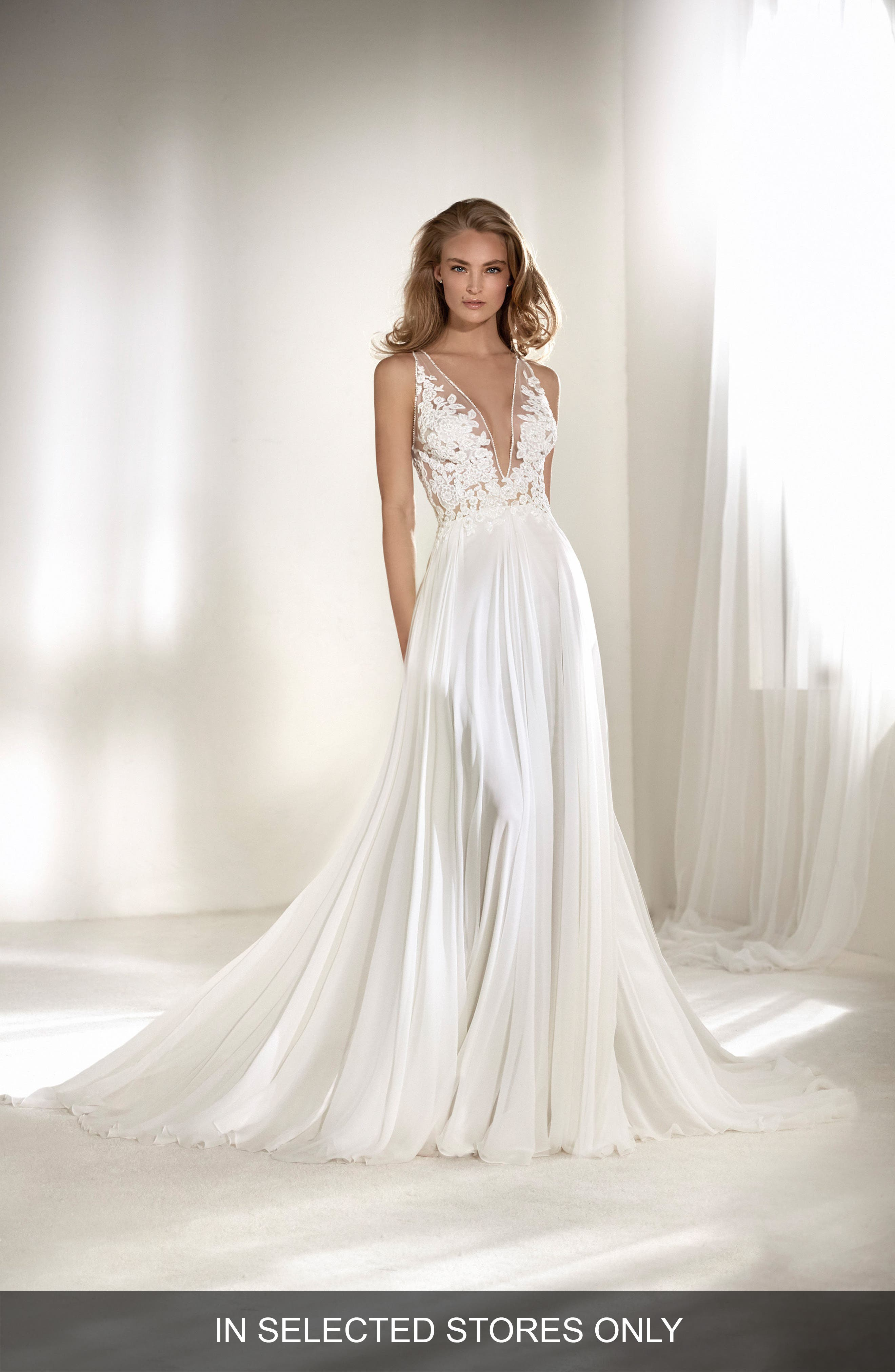 Riado Plunging Lace & Chiffon A-Line Gown,                             Main thumbnail 1, color,                             OFF WHITE