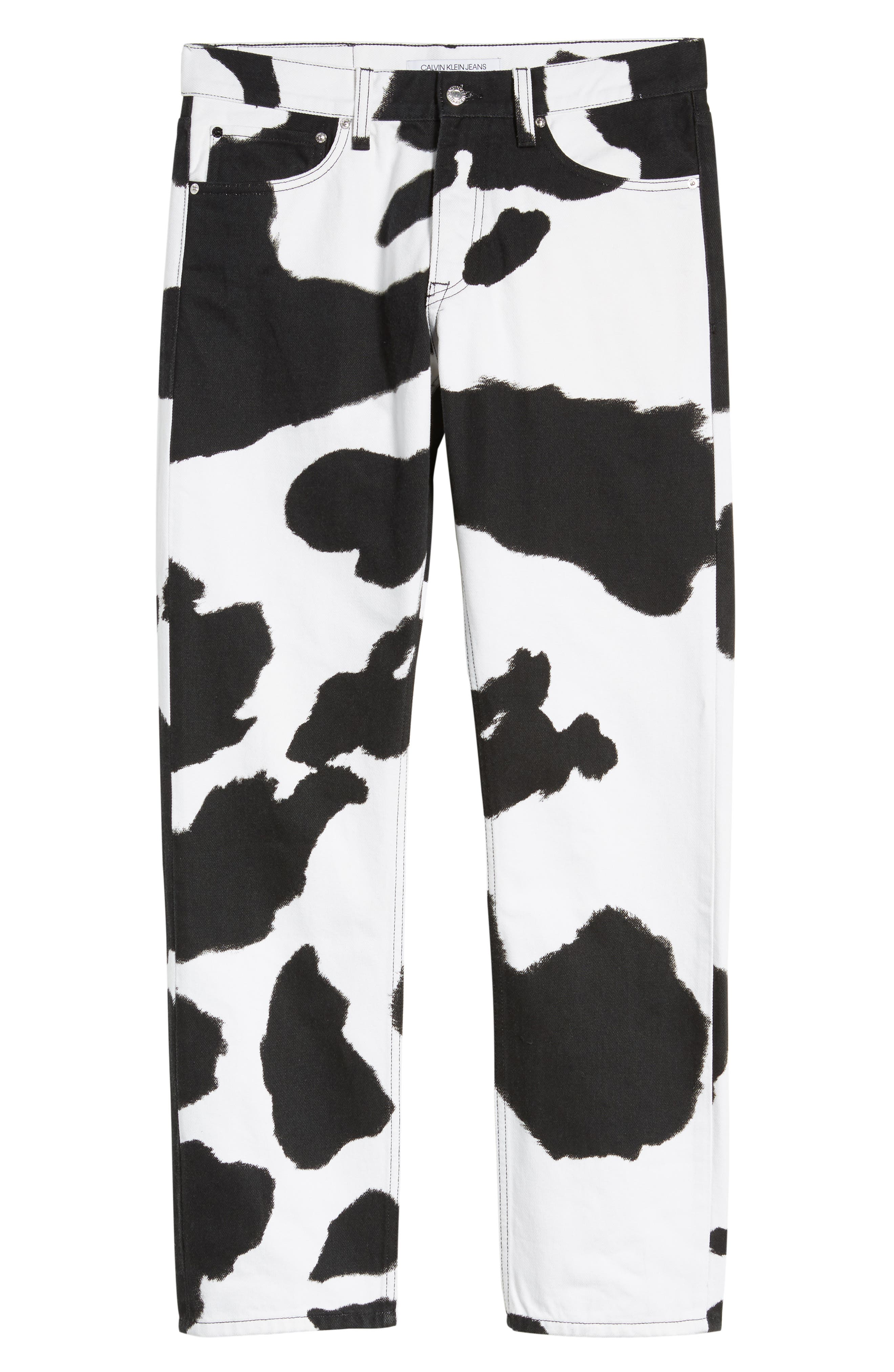 Cow Print Straight Leg Jeans,                             Alternate thumbnail 4, color,                             COW PRINT