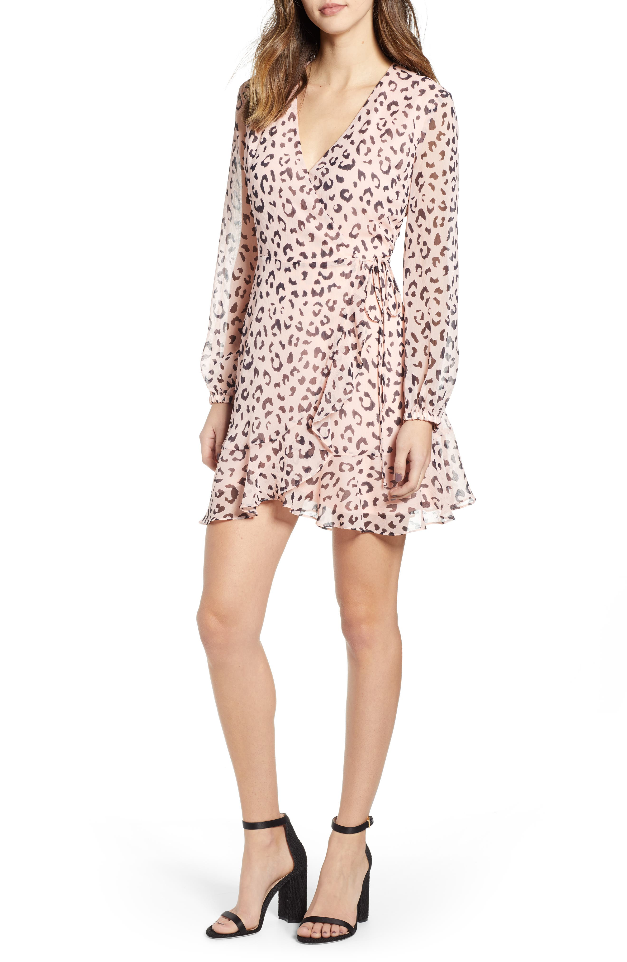 Brittany Wrap Minidress, Main, color, PINK BLUE ANIMAL