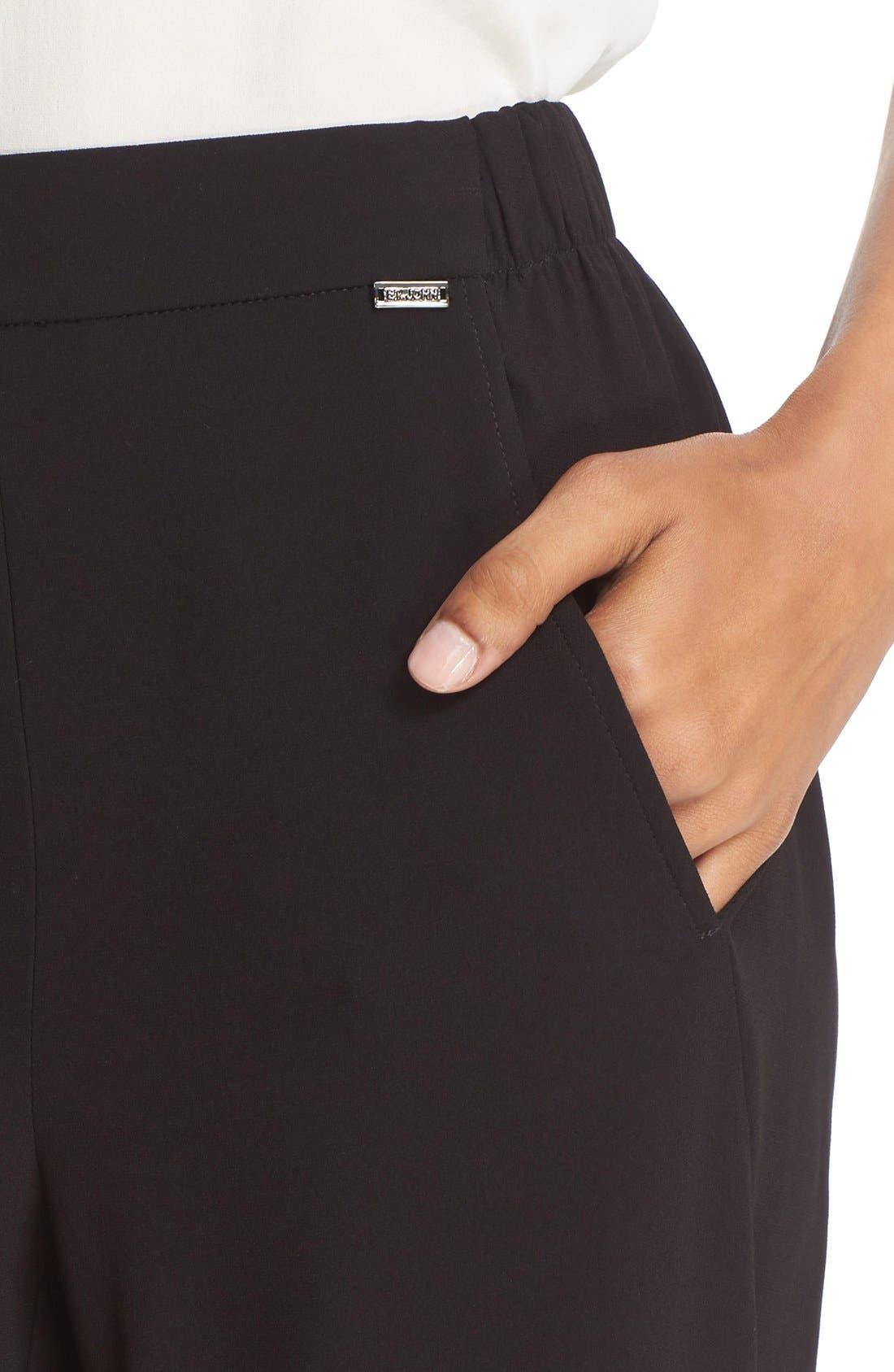 St. John Sport Collection Satin Back Crepe Pants,                             Alternate thumbnail 5, color,                             001