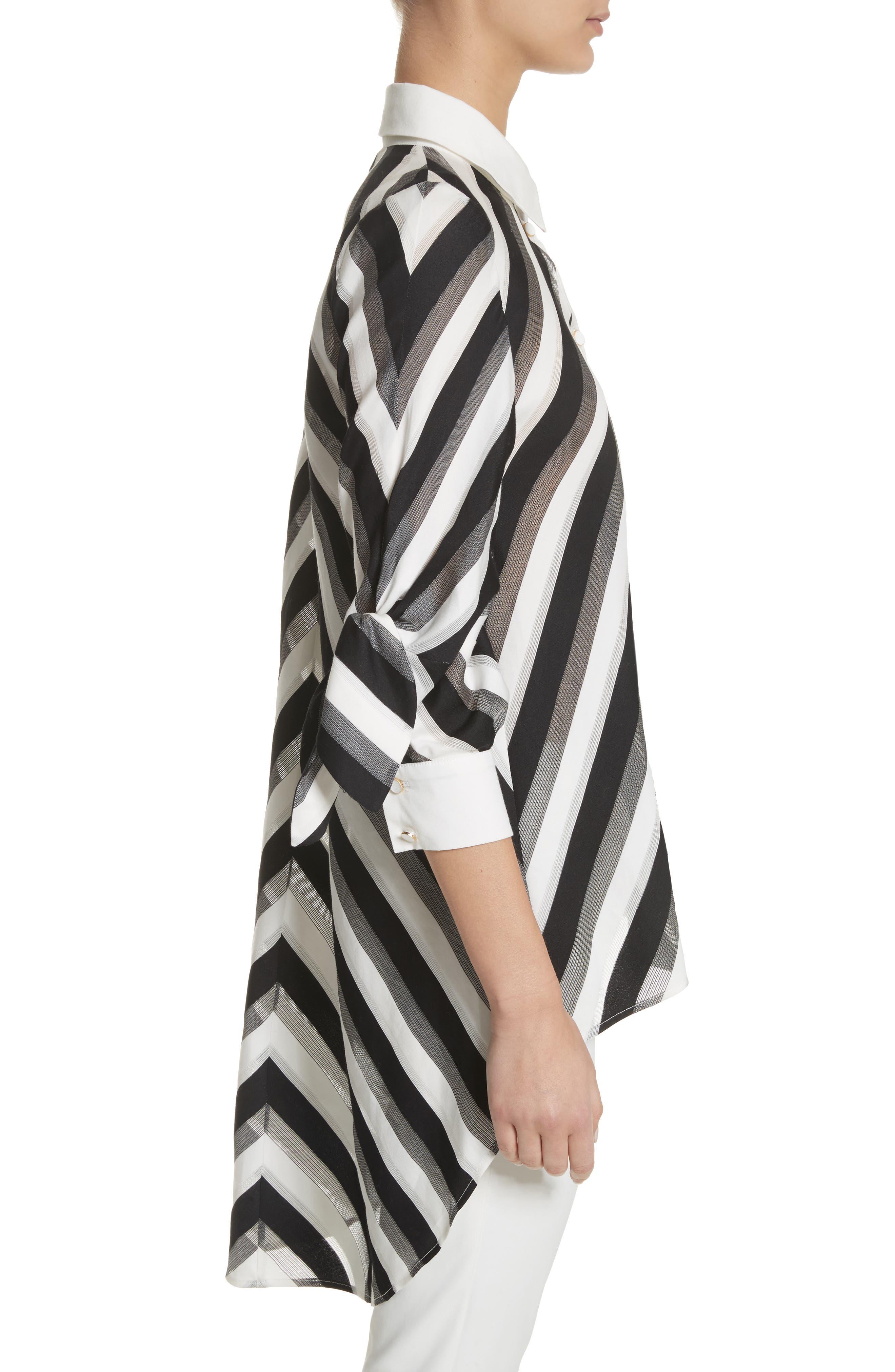 Stripe Bow Sleeve Shirt,                             Alternate thumbnail 3, color,