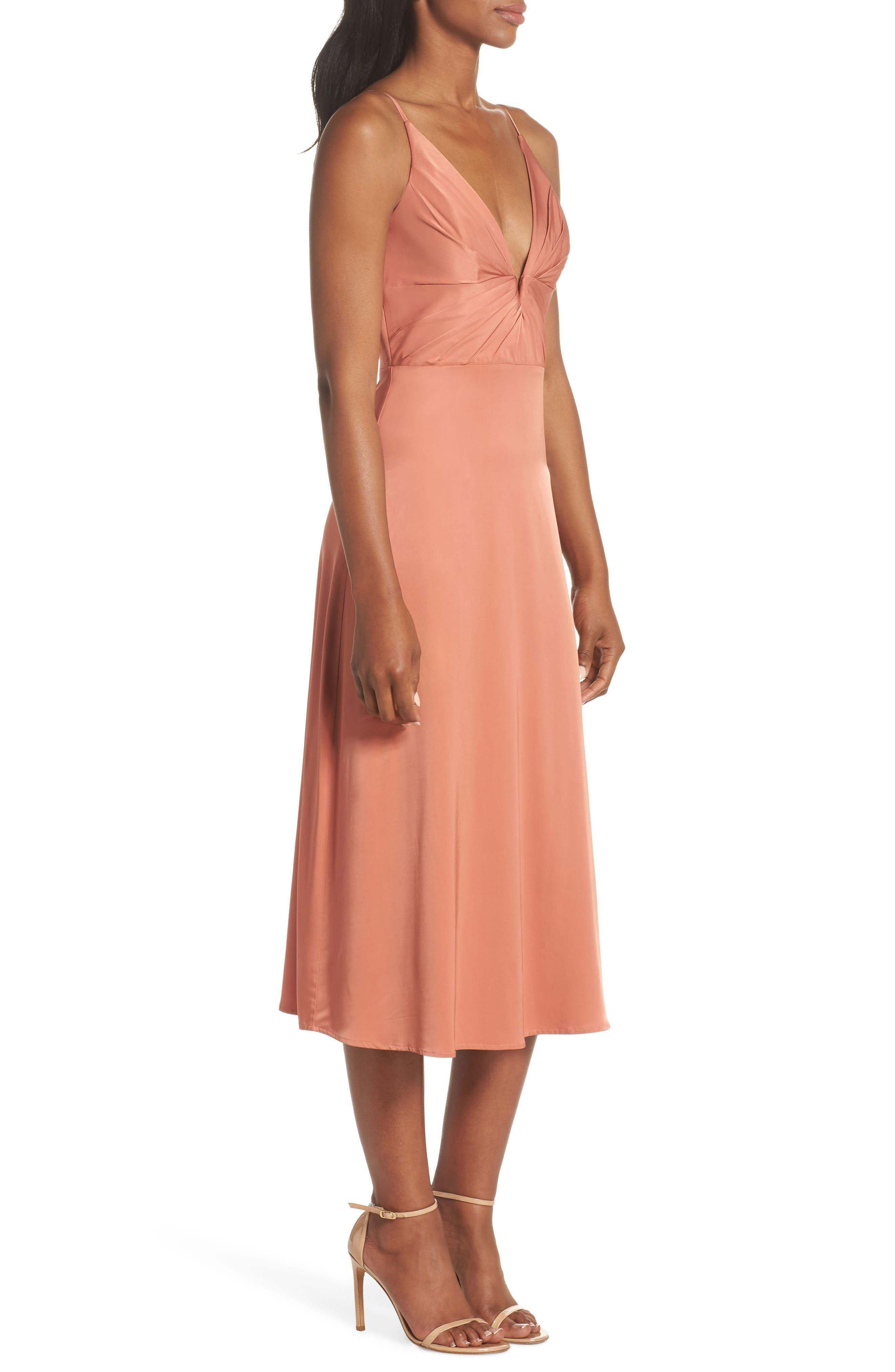Lea Plunge Neck Midi Dress,                             Alternate thumbnail 3, color,                             TERRACOTTA