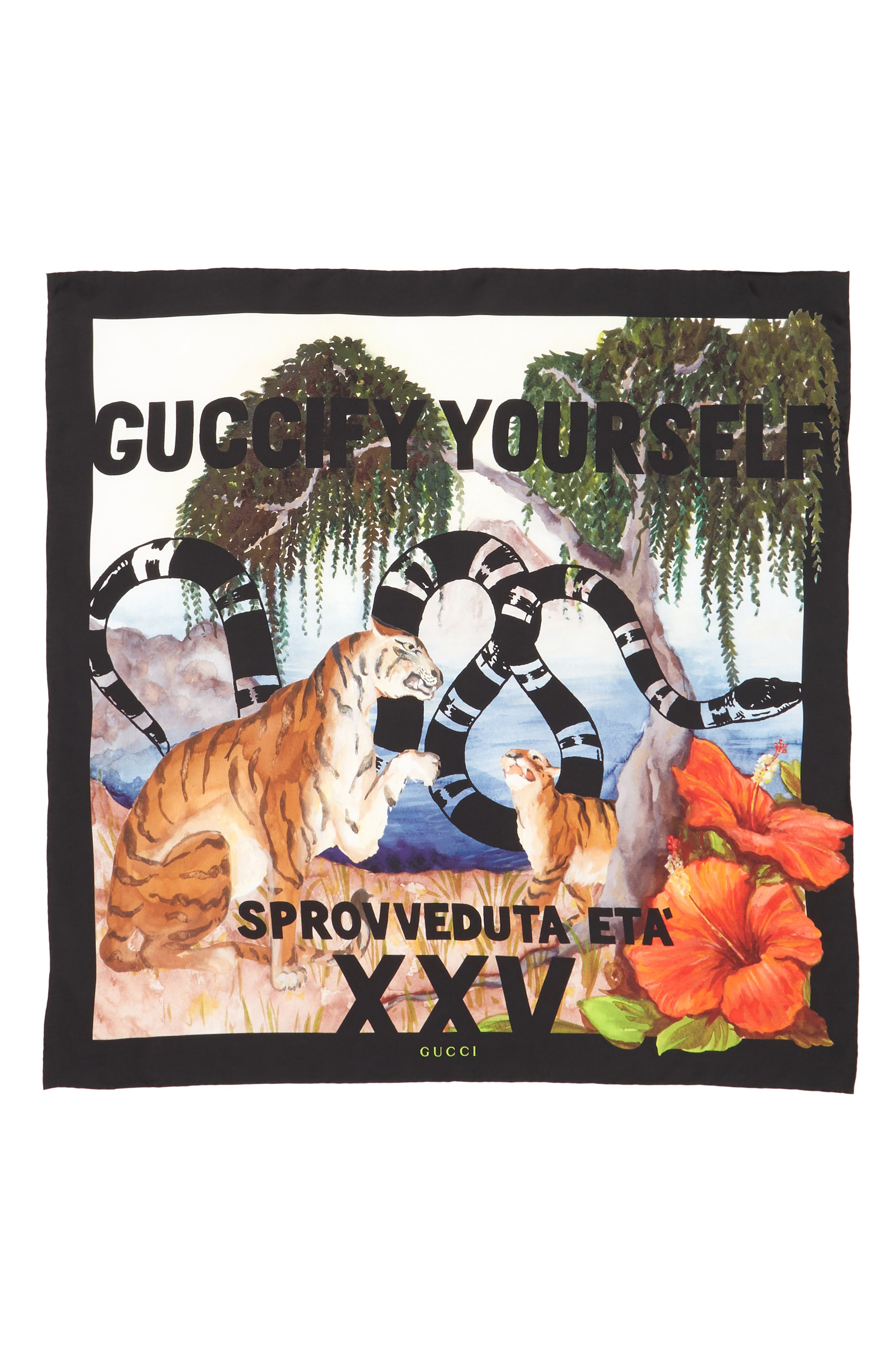 Exotic Hawaiian Print Square Silk Square,                             Alternate thumbnail 2, color,