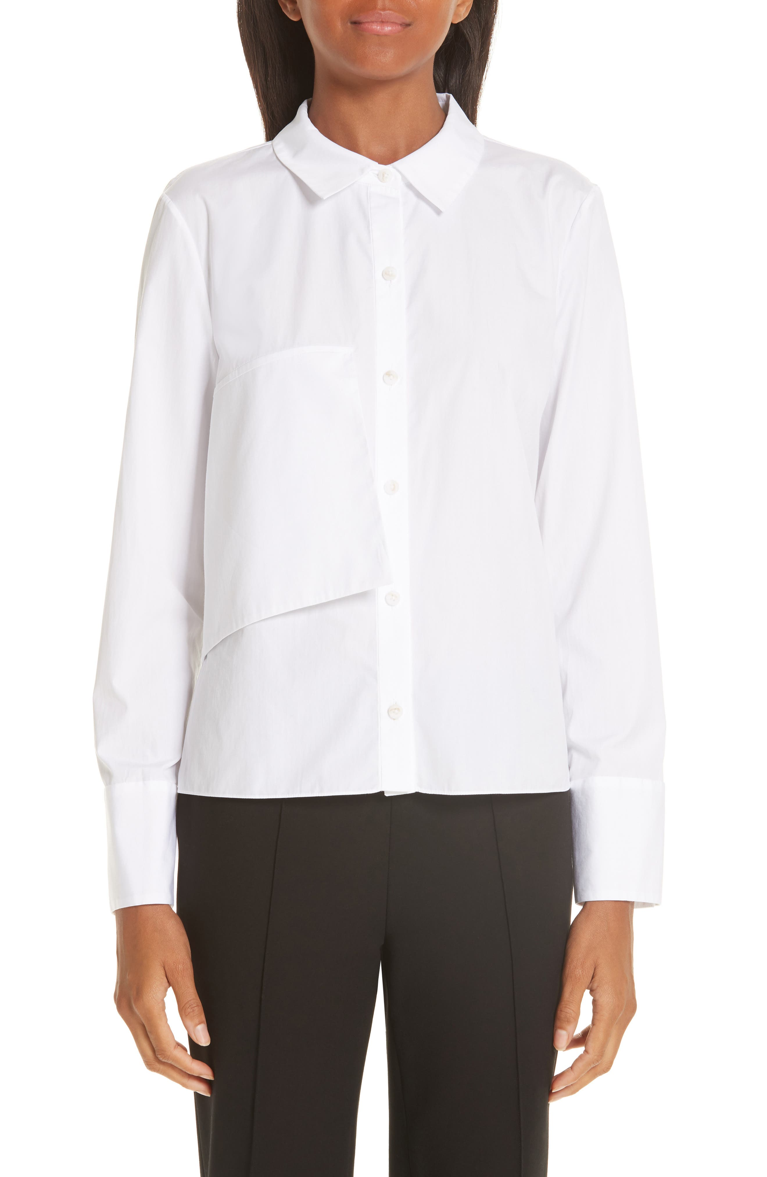 Brushed Cotton Top,                         Main,                         color, WHITE