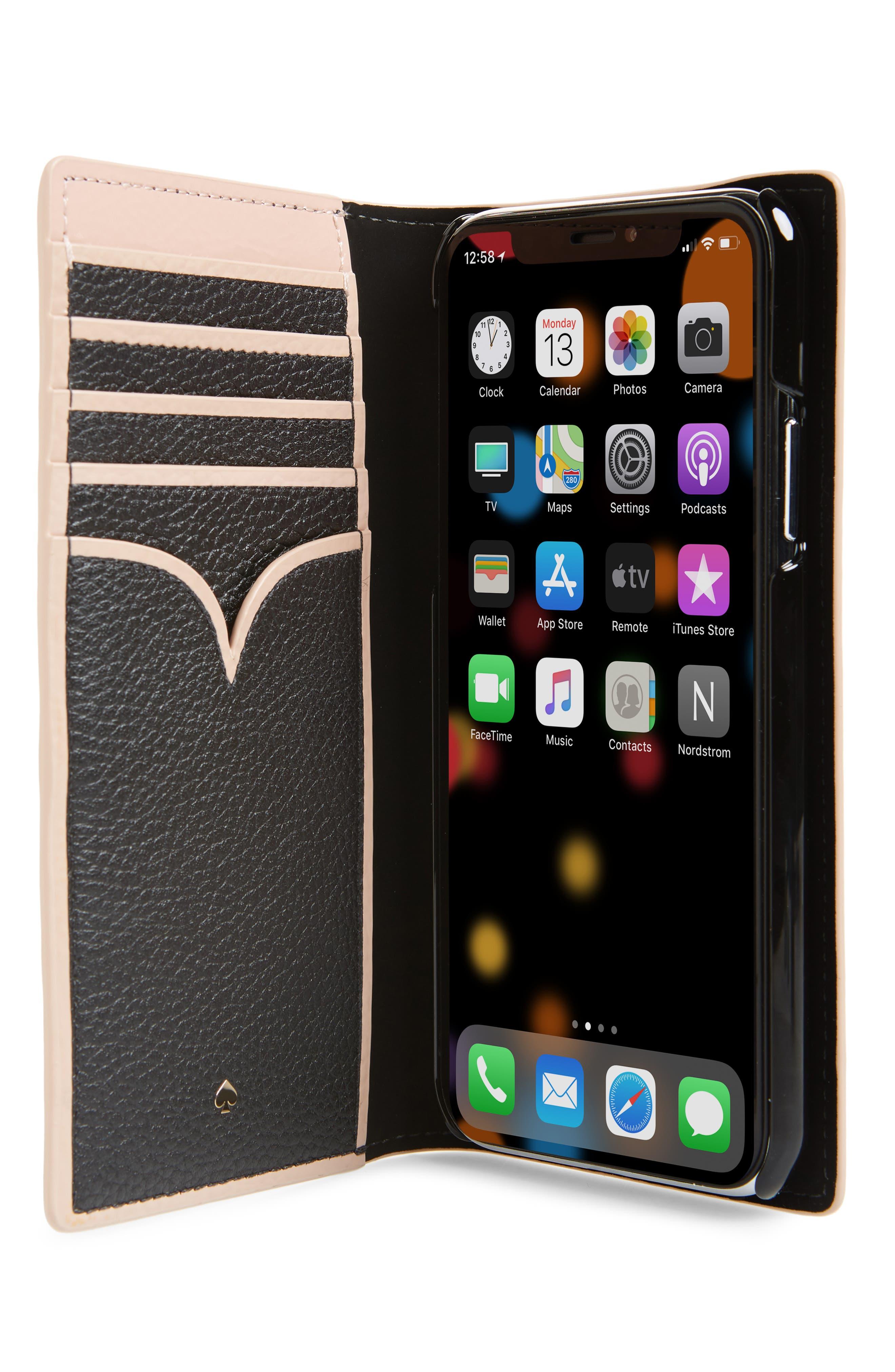 KATE SPADE NEW YORK,                             sam iPhone X/Xs, Xs Max & XR folio,                             Alternate thumbnail 2, color,                             BLACK