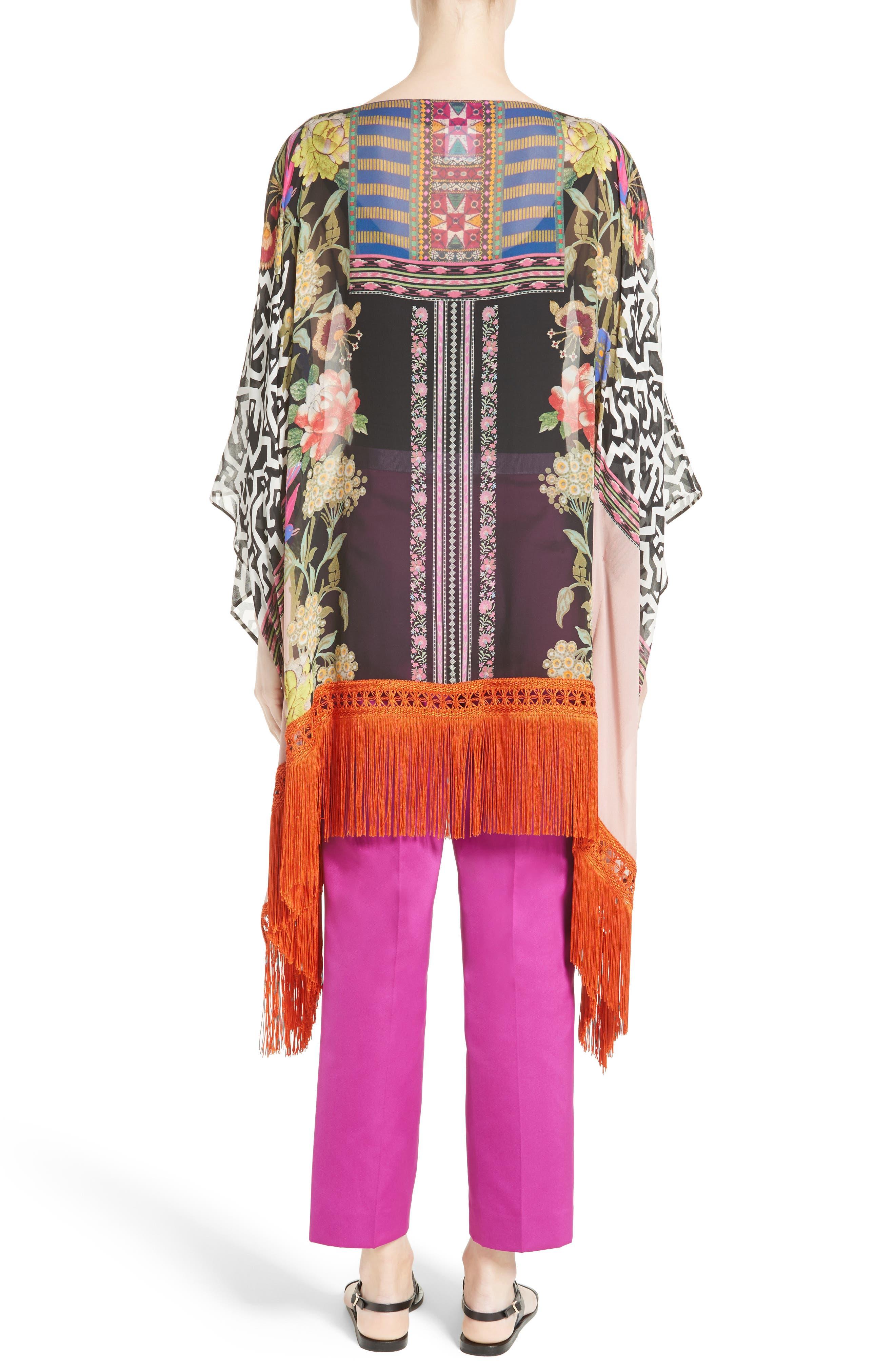 Fringe Trim Floral Print Silk Poncho,                             Alternate thumbnail 2, color,