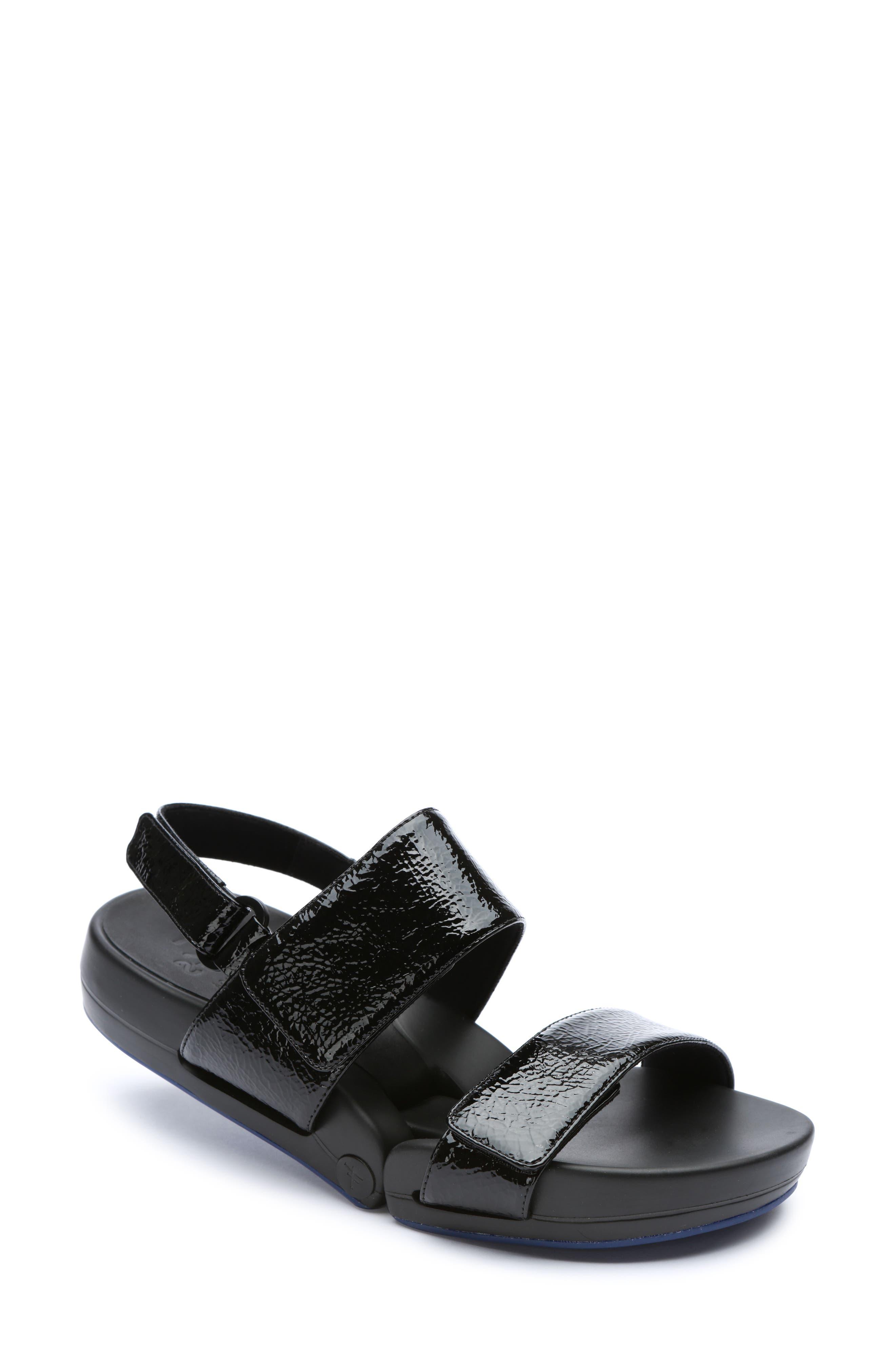 Figulous Sandal,                             Main thumbnail 1, color,                             BLACK CRINKLE PATENT LEATHER