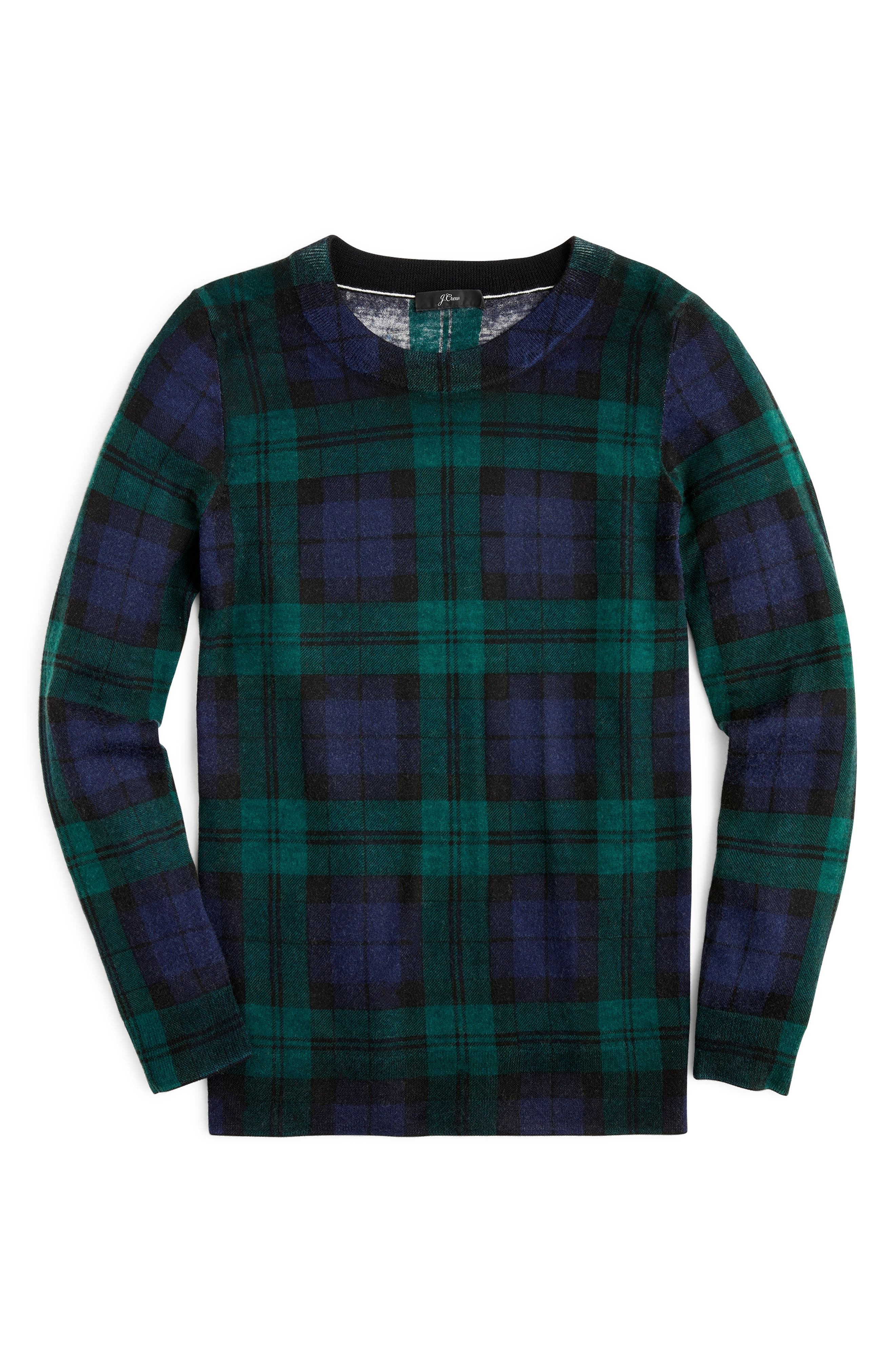 J.CREW,                             Blackwatch Plaid Tippi Sweater,                             Alternate thumbnail 5, color,                             009