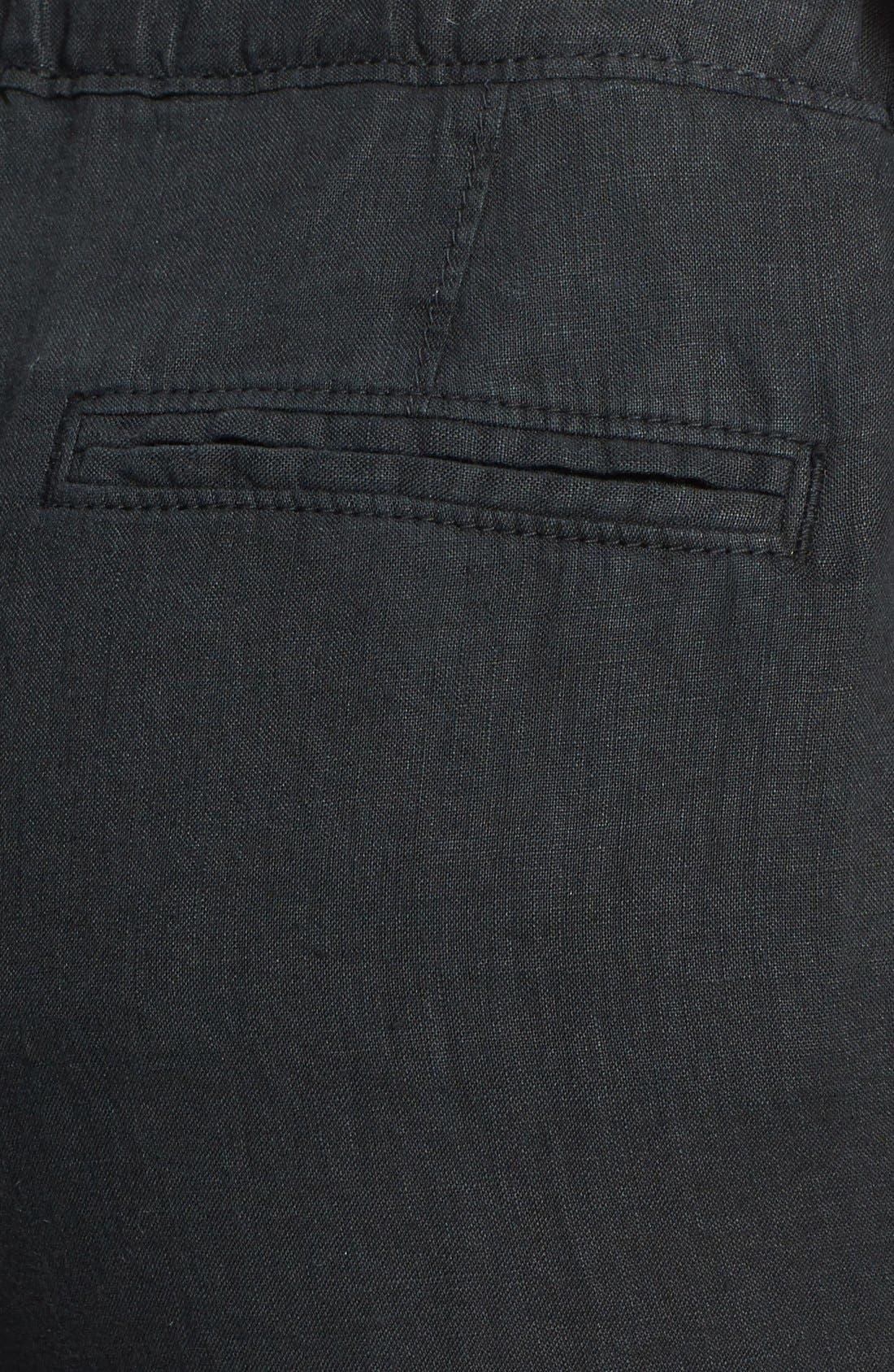 Drawstring Waist Linen Pants,                             Alternate thumbnail 2, color,                             001