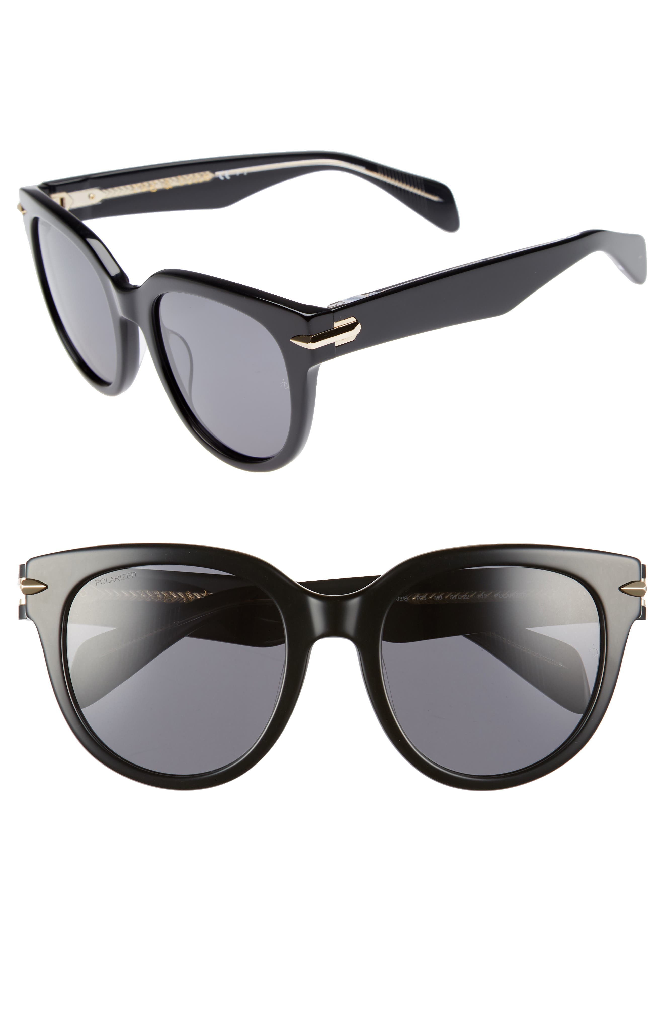 54mm Round Sunglasses,                             Main thumbnail 1, color,                             BLACK/ CRYSTAL