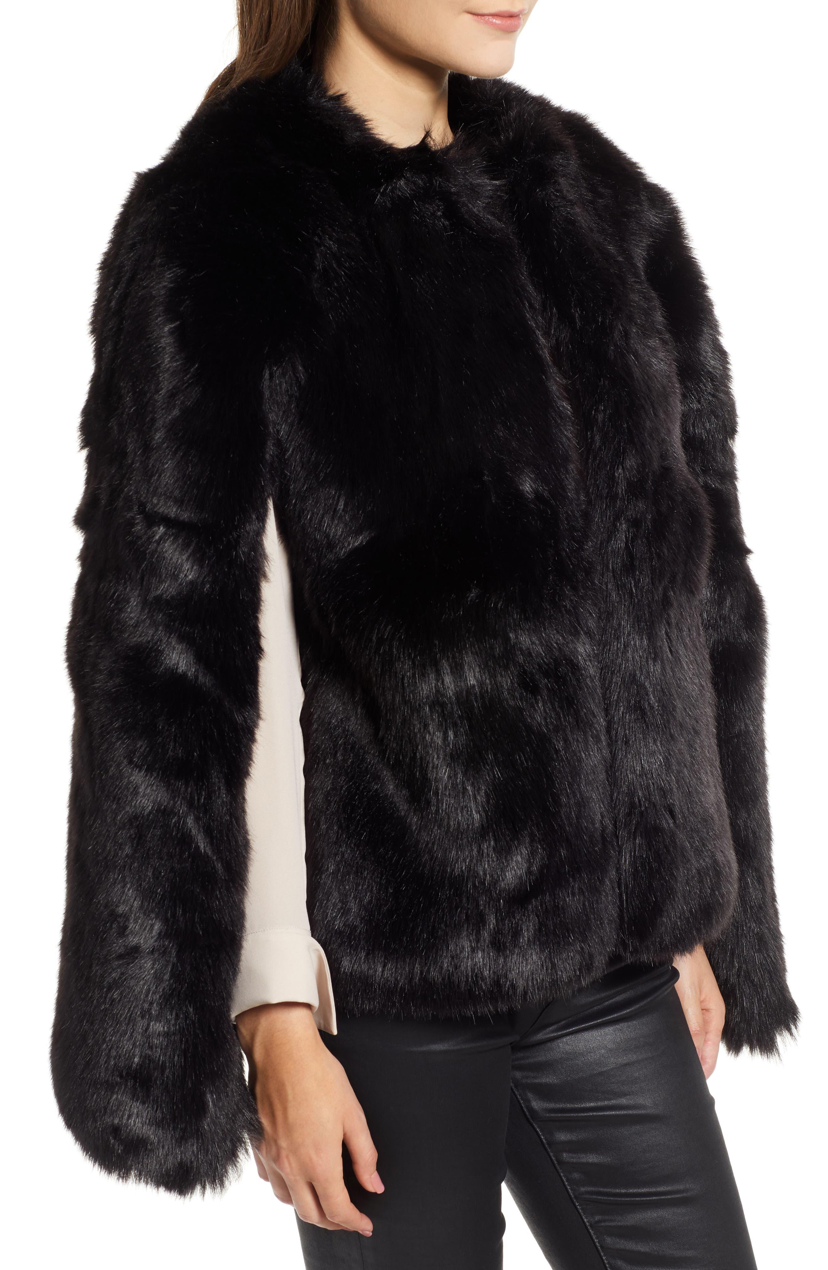 Faux Fur Cape,                             Alternate thumbnail 3, color,                             BLACK SHORT FOX