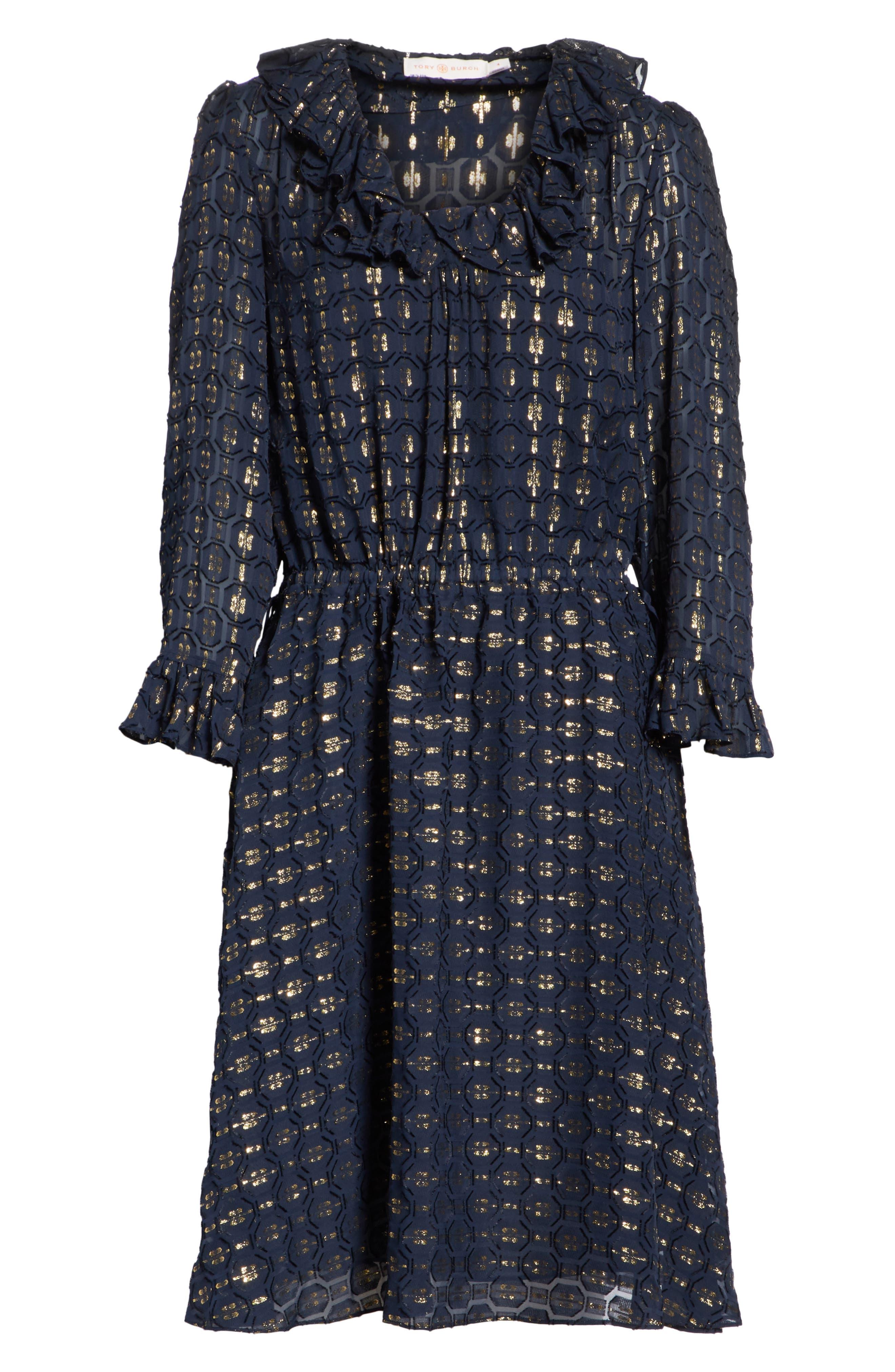 TORY BURCH,                             Jasmine Silk Blend Dress,                             Alternate thumbnail 6, color,                             405