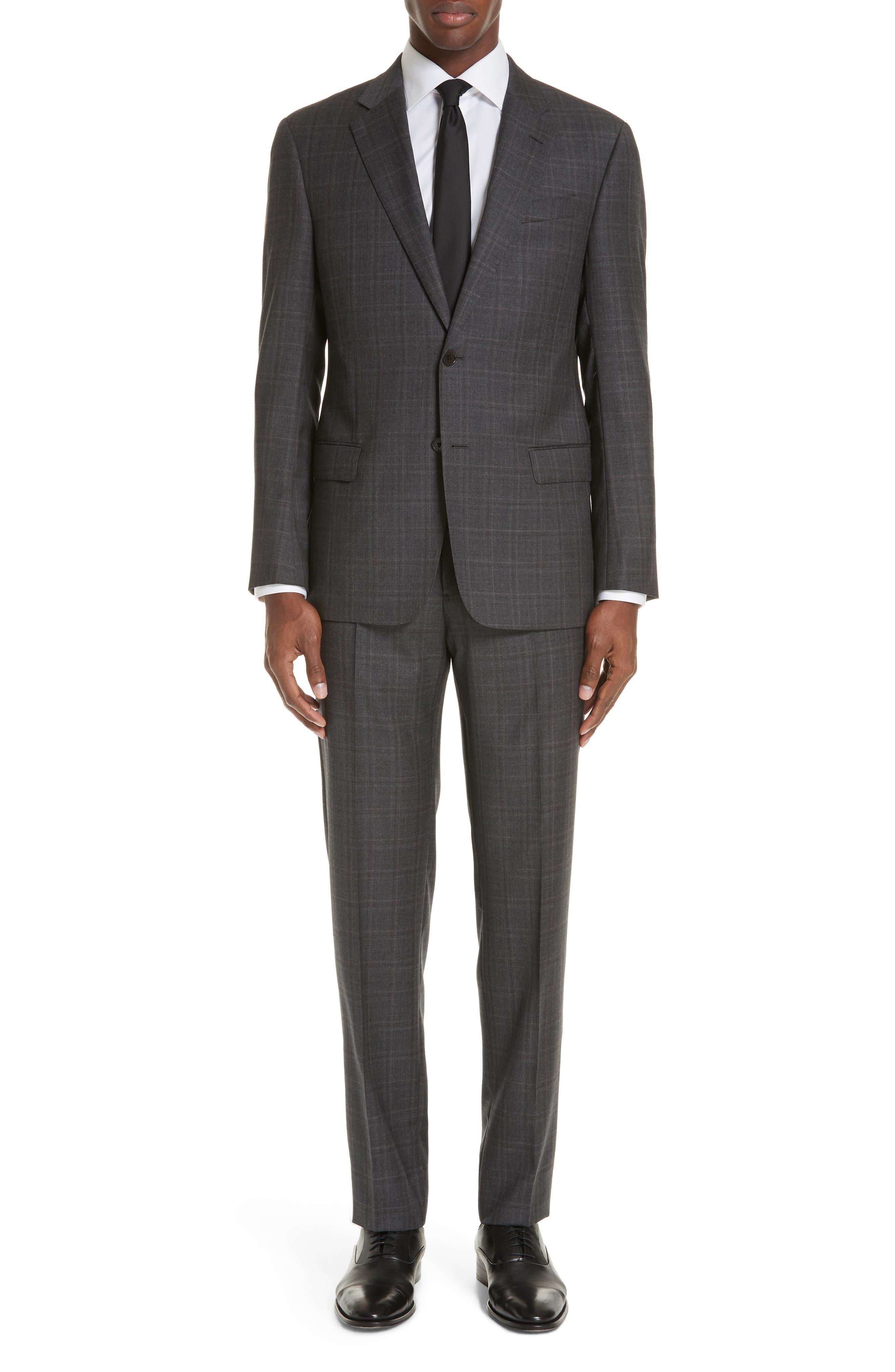Men'S Windowpane Wool Two-Piece Suit in Grey/ Merlot