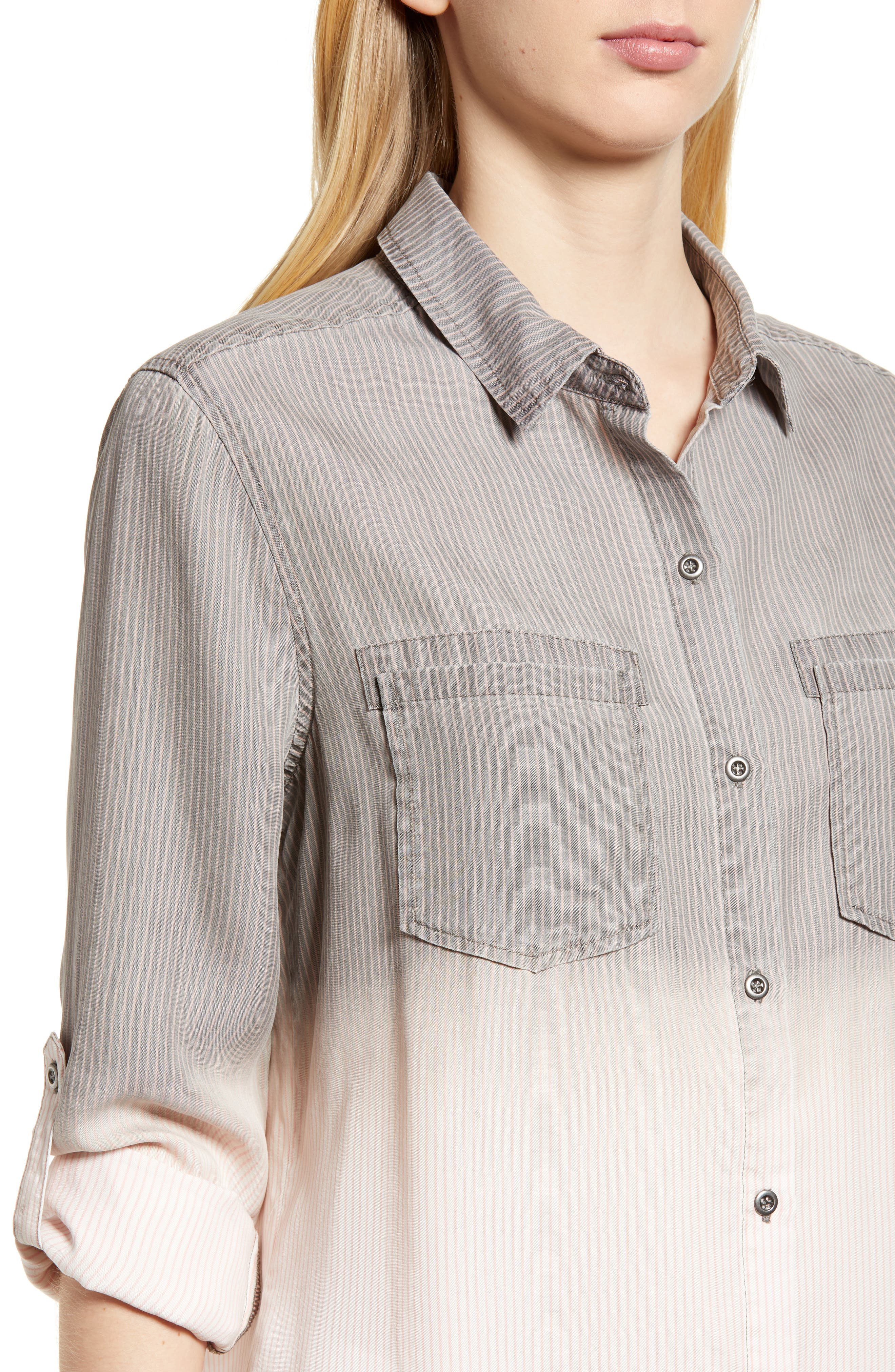 Laced Back Button Up Shirt,                             Alternate thumbnail 4, color,                             GREY RR STRIPE